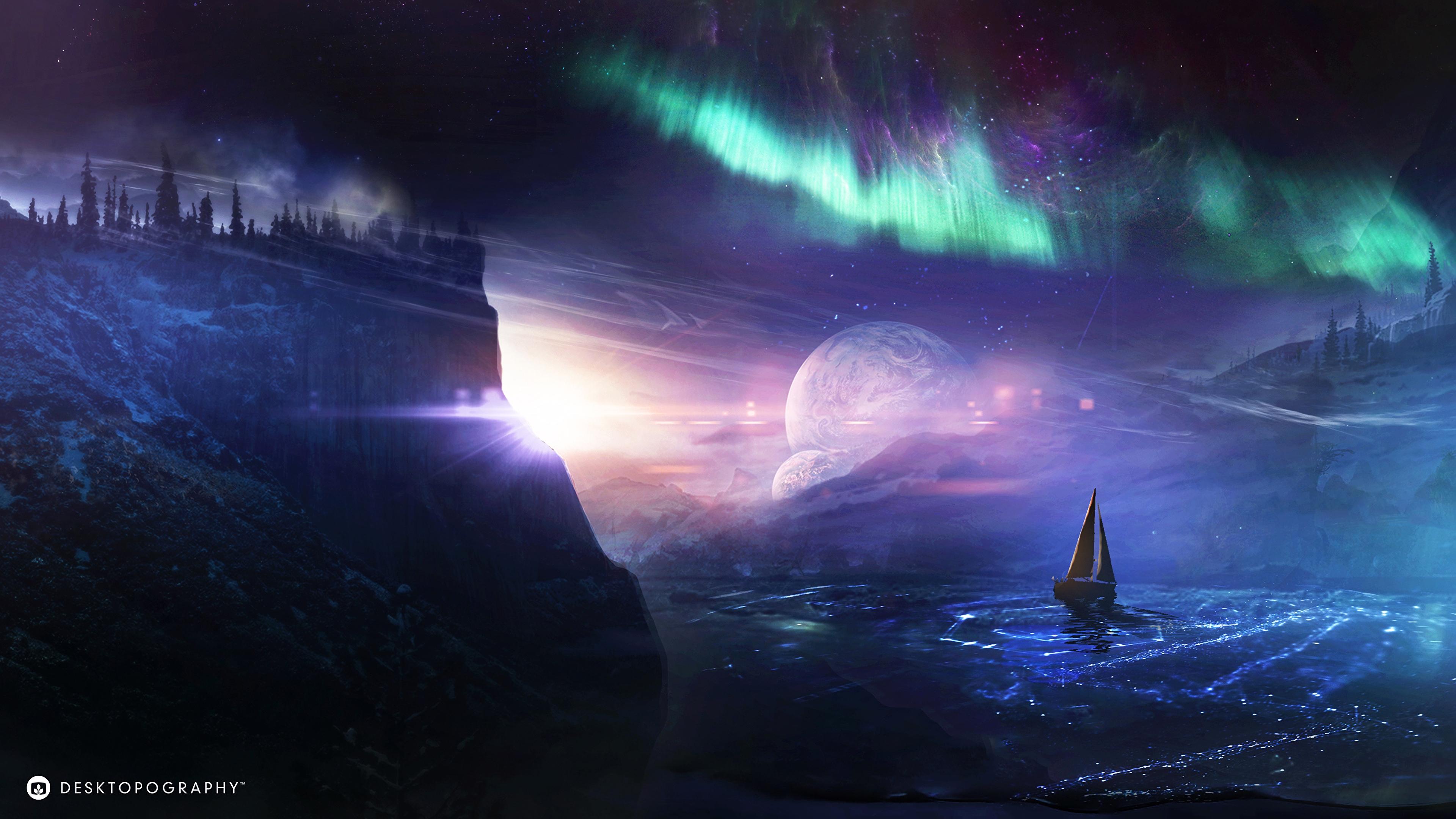 boat planet northern lights art night 4k 1541971169 - boat, planet, northern lights, art, night 4k - Planet, northern lights, Boat