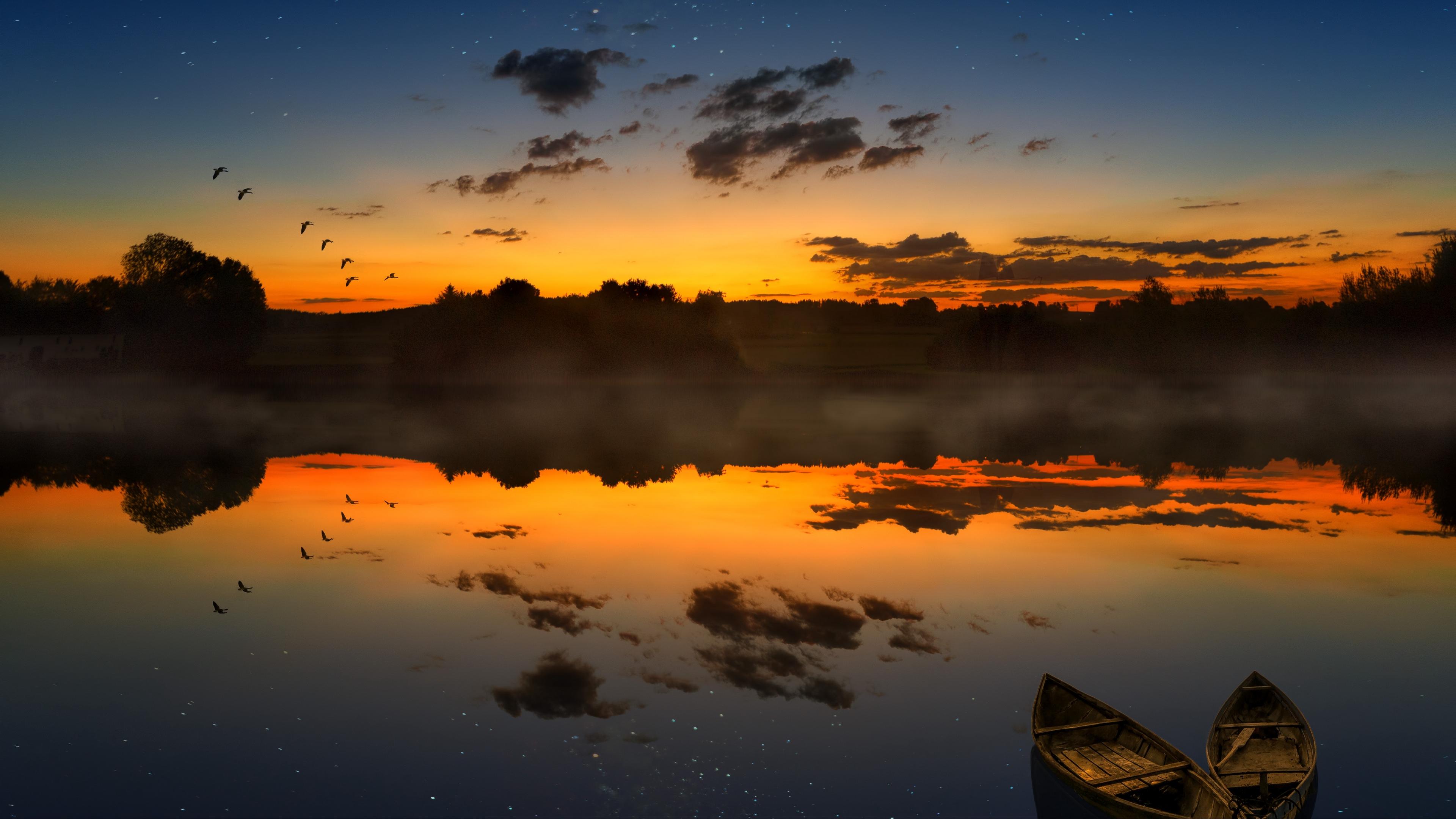 boats sunset lake horizon clouds 4k 1541113669 - boats, sunset, lake, horizon, clouds 4k - sunset, Lake, boats