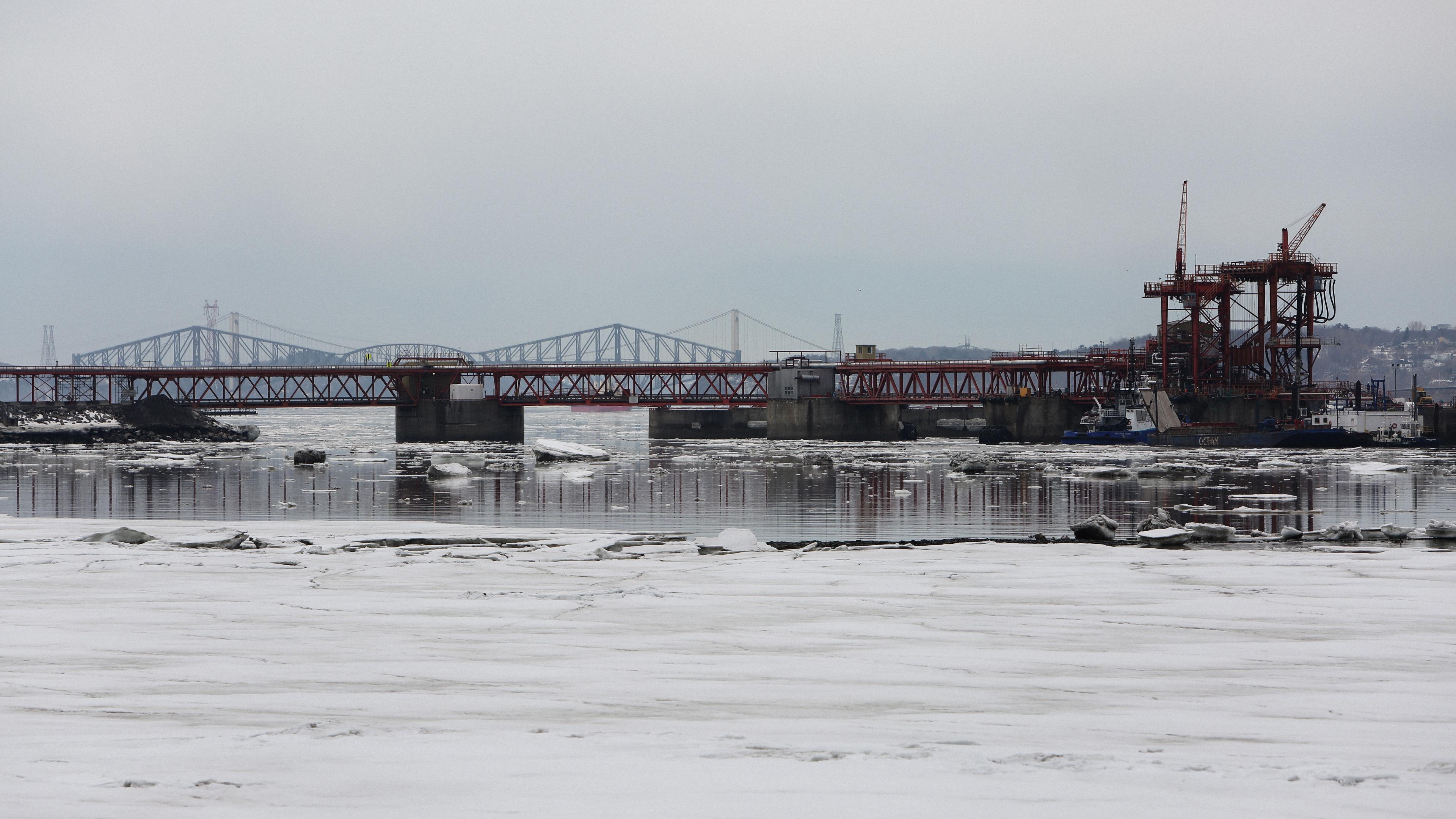 bridge river buildings snow 4k 1541113999 - bridge, river, buildings, snow 4k - River, buildings, bridge