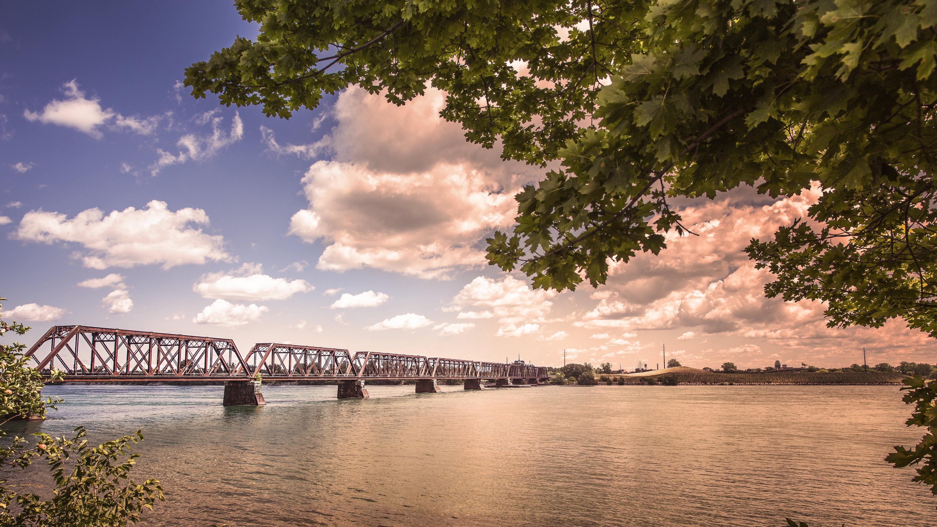 bridge river sky trees 4k 1541117536 - bridge, river, sky, trees 4k - Sky, River, bridge