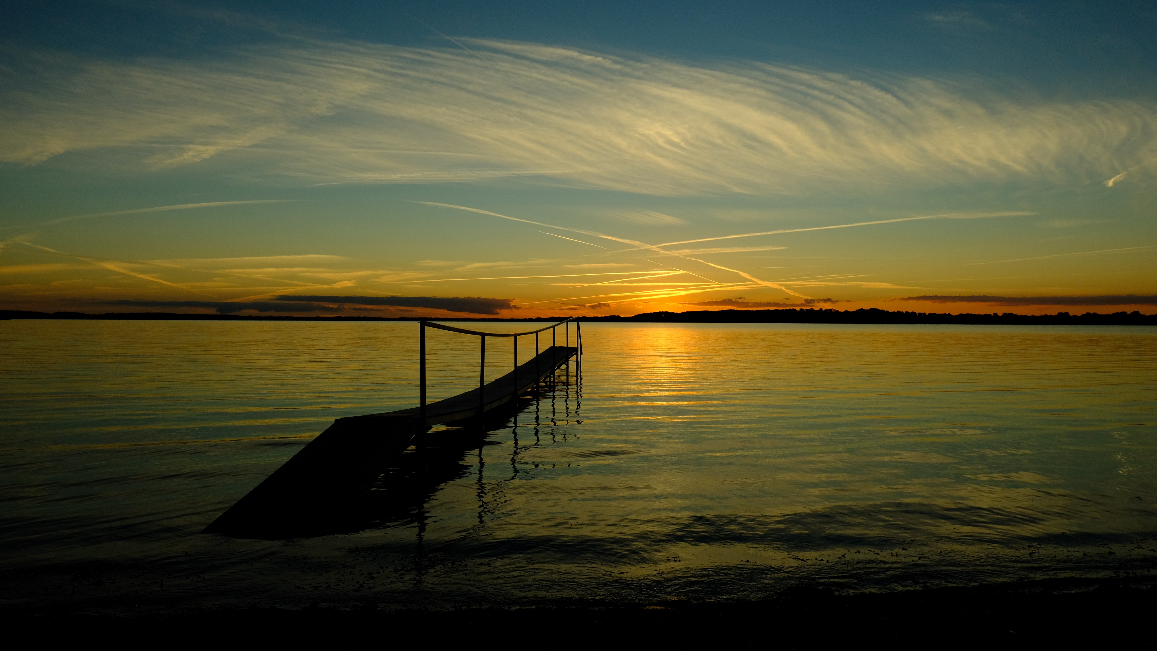 bridge sea sunset horizon river pier shore sky 4k 1541116815 - bridge, sea, sunset, horizon, river, pier, shore, sky 4k - sunset, Sea, bridge