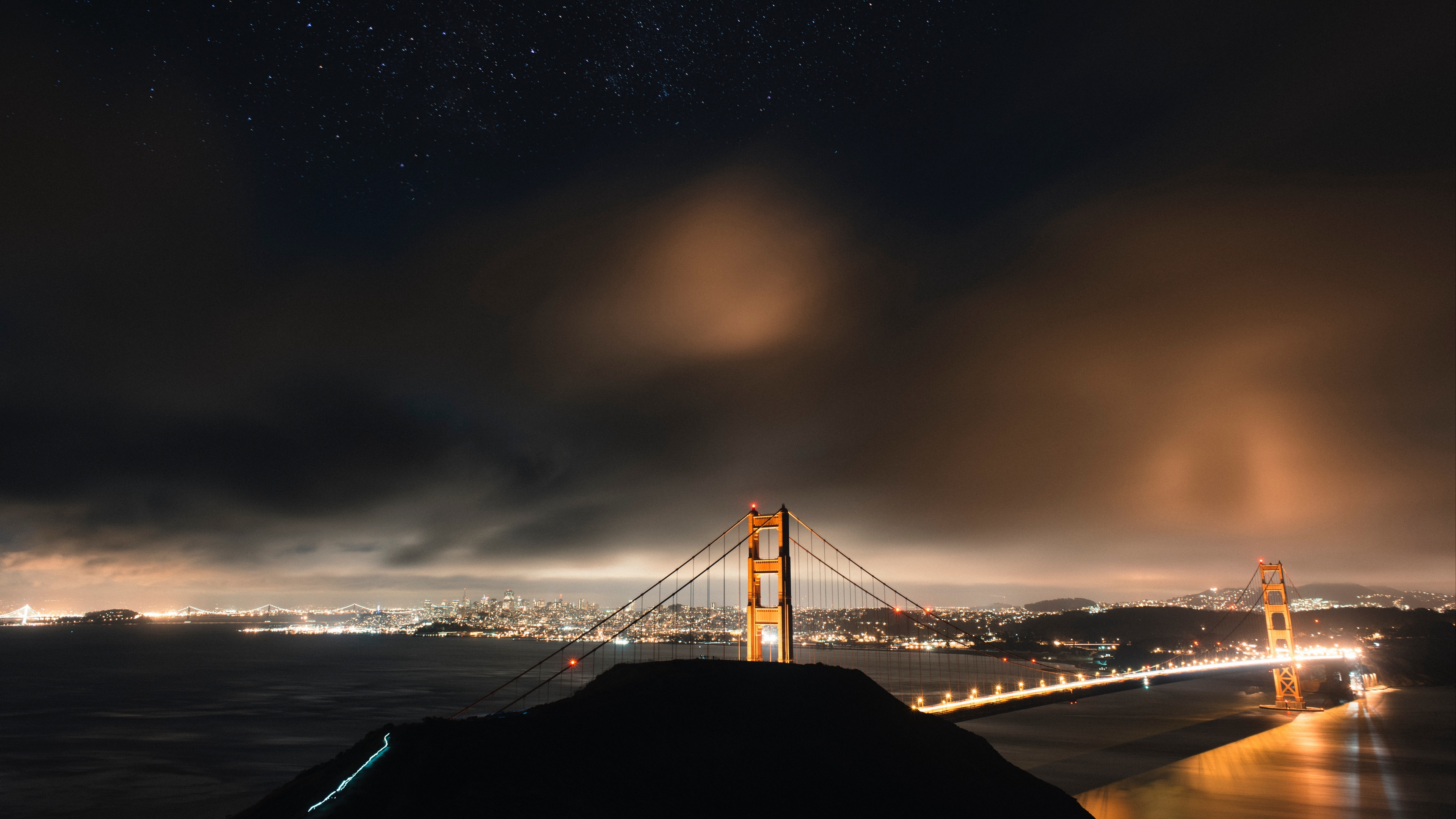 bridge starry sky night city clouds san francisco usa 4k 1541115465 - bridge, starry sky, night city, clouds, san francisco, usa 4k - starry sky, night city, bridge