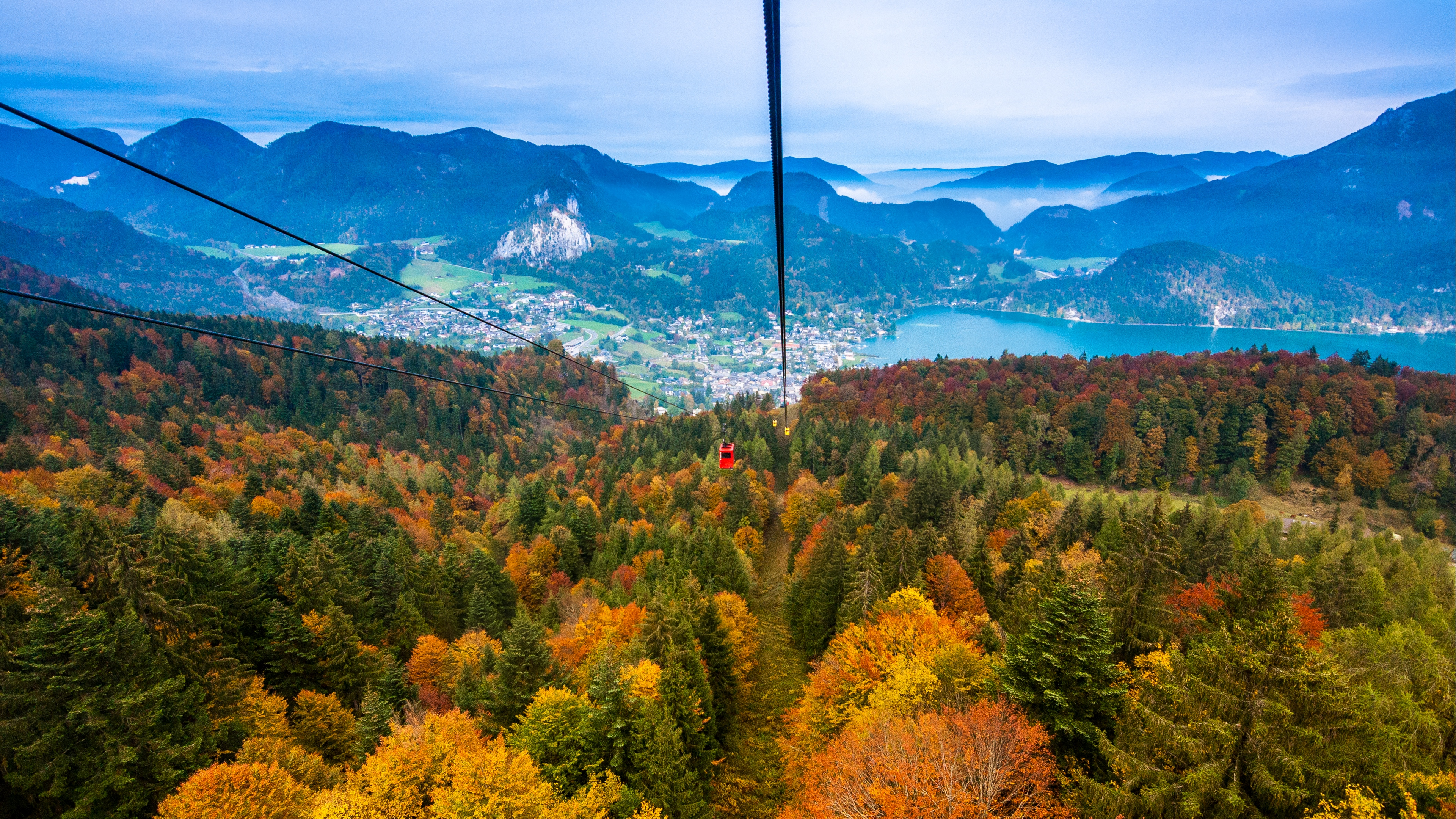 cable car view from above trees mountains autumn 4k 1541117256 - cable car, view from above, trees, mountains, autumn 4k - view from above, Trees, cable car