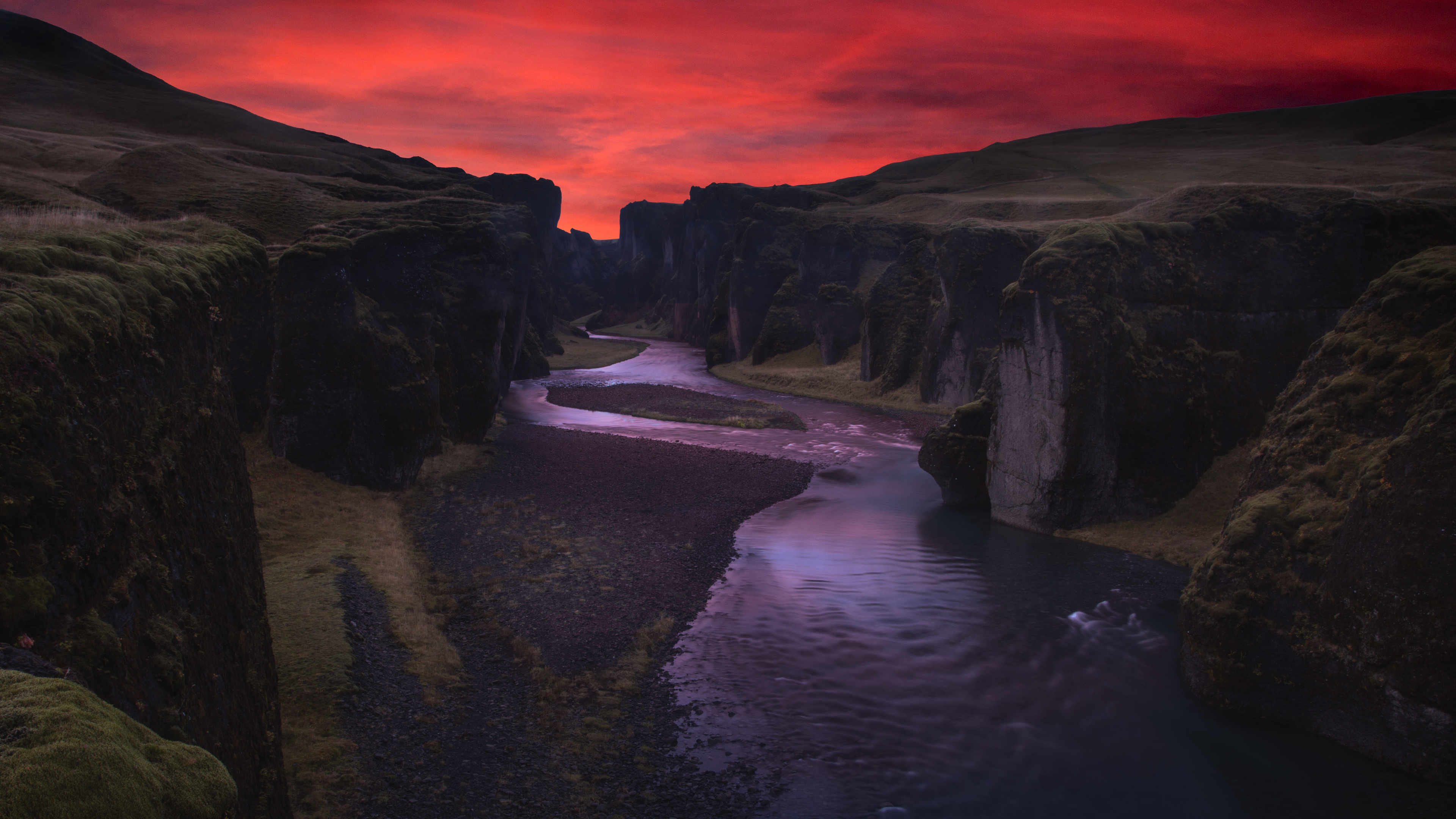 canyon river night fjadrargljufur iceland 4k 1541116072 - canyon, river, night, fjadrargljufur, iceland 4k - River, Night, Canyon
