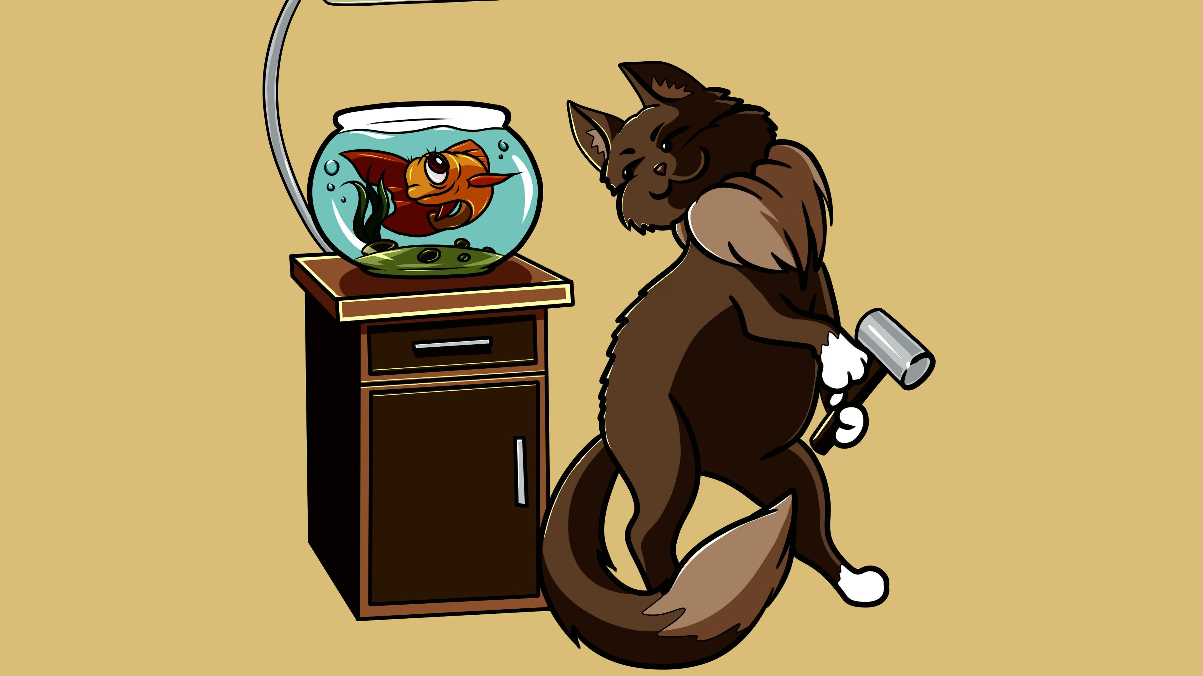 cat fish aquarium funny art friends 4k 1541971219 - cat, fish, aquarium, funny, art, friends 4k - Fish, Cat, Aquarium