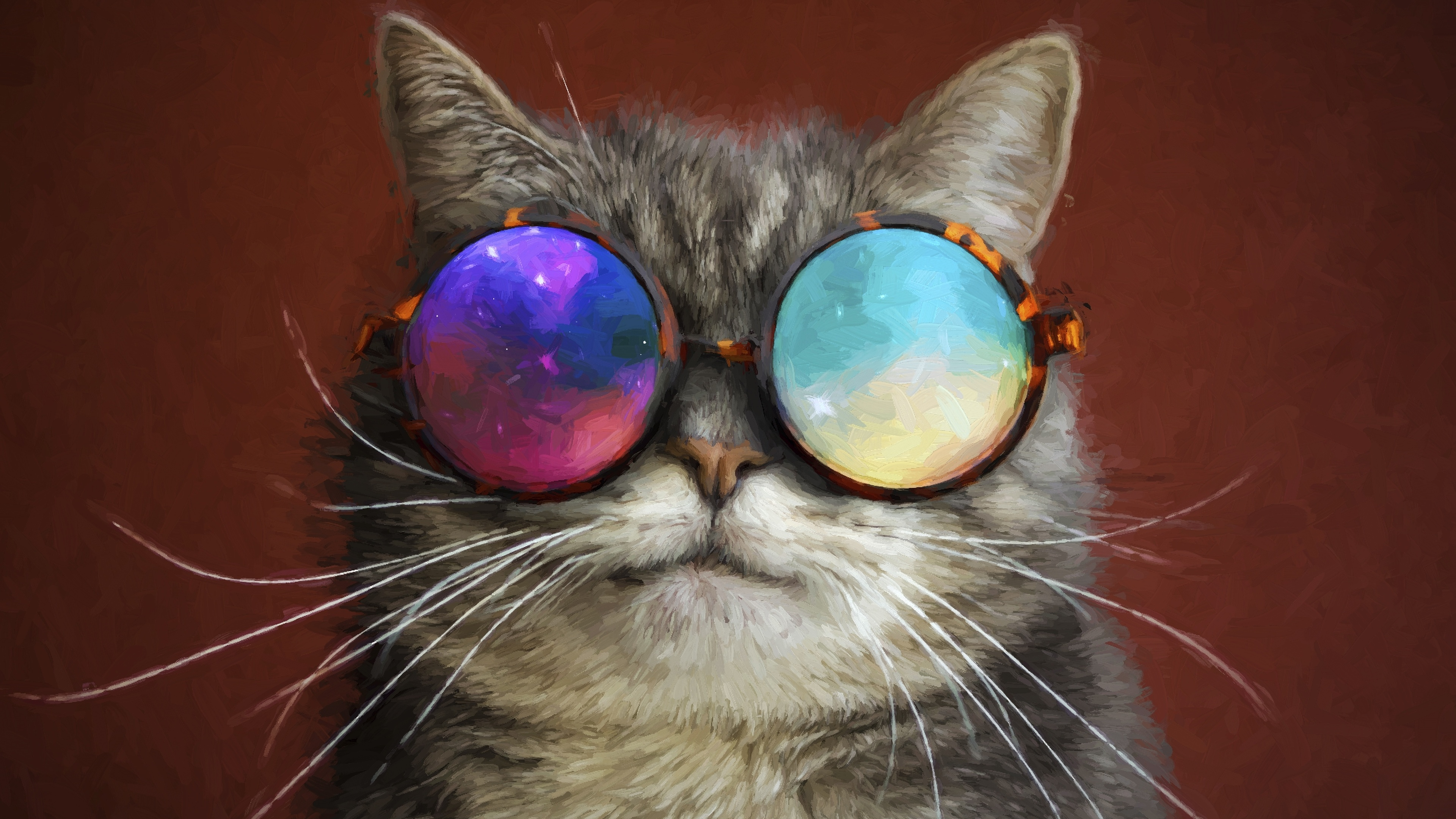 cat glasses party cool painting 1542238776 - Cat Glasses Party Cool Painting - painting wallpapers, hd-wallpapers, digital art wallpapers, cat wallpapers, artwork wallpapers, artist wallpapers, animals wallpapers, 4k-wallpapers