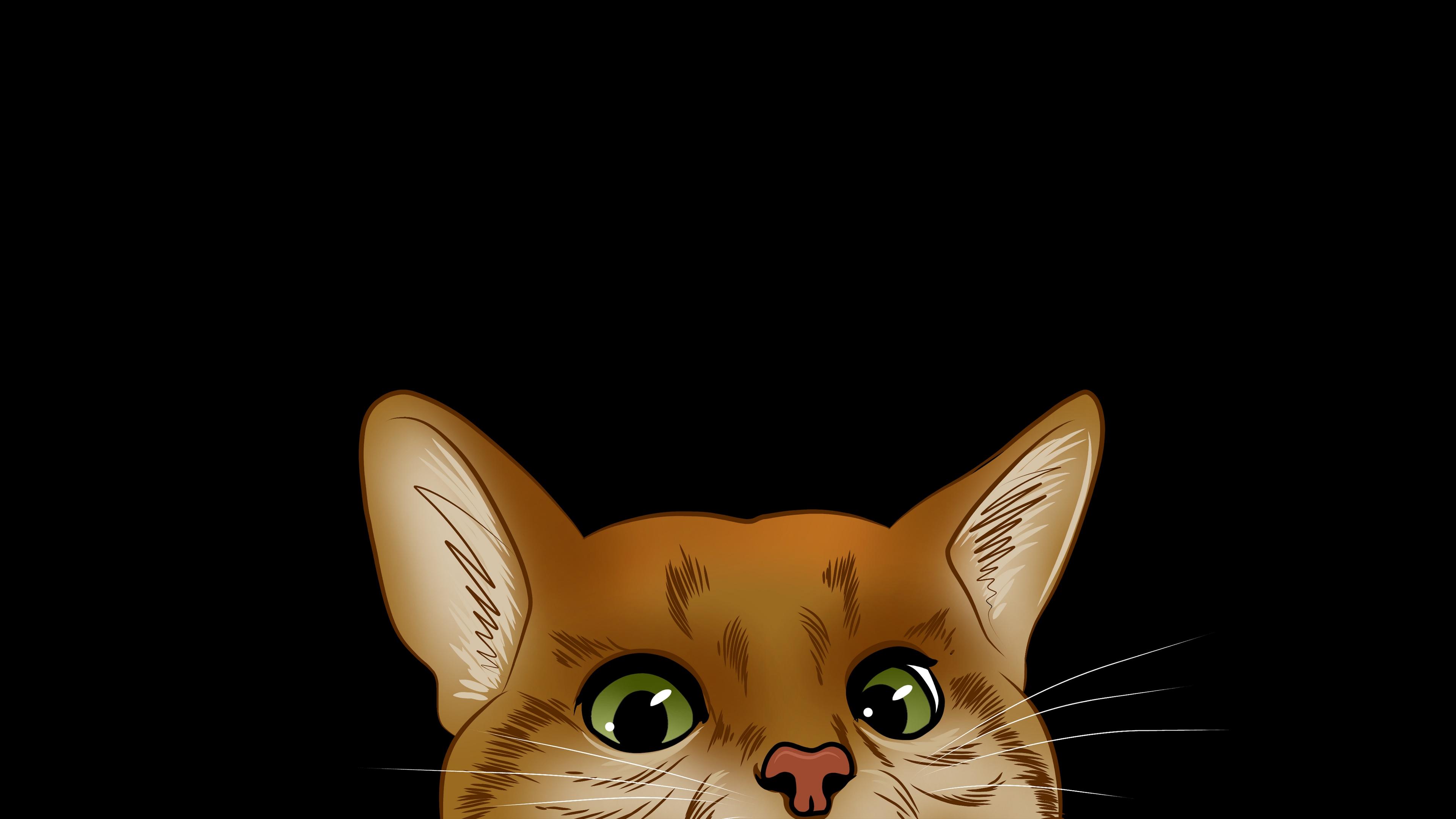 cat muzzle look out hide art 4k 1541971124 - cat, muzzle, look out, hide, art 4k - muzzle, look out, Cat