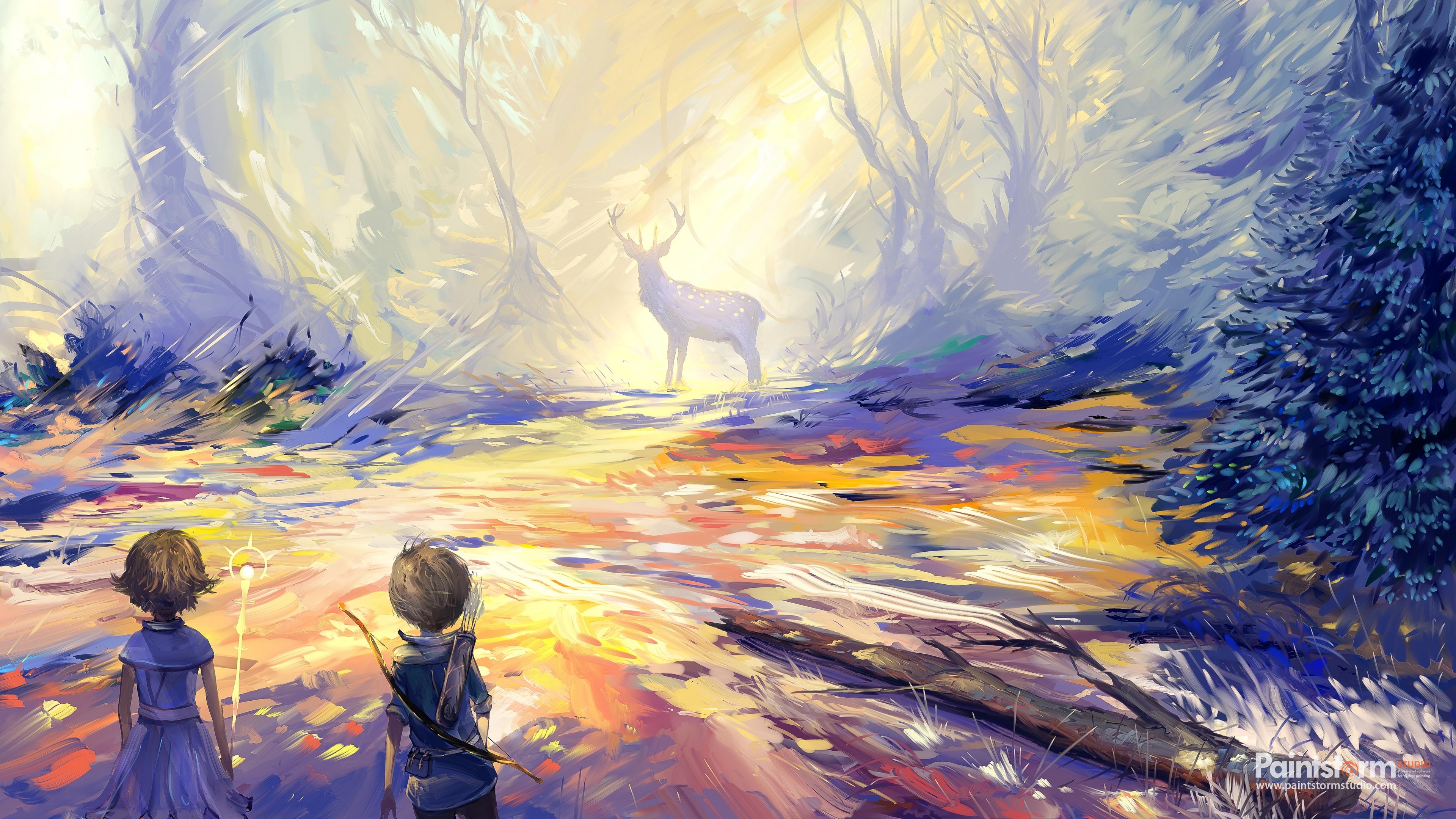 child deer art hunting 4k 1541971488 - child, deer, art, hunting 4k - Deer, child, art