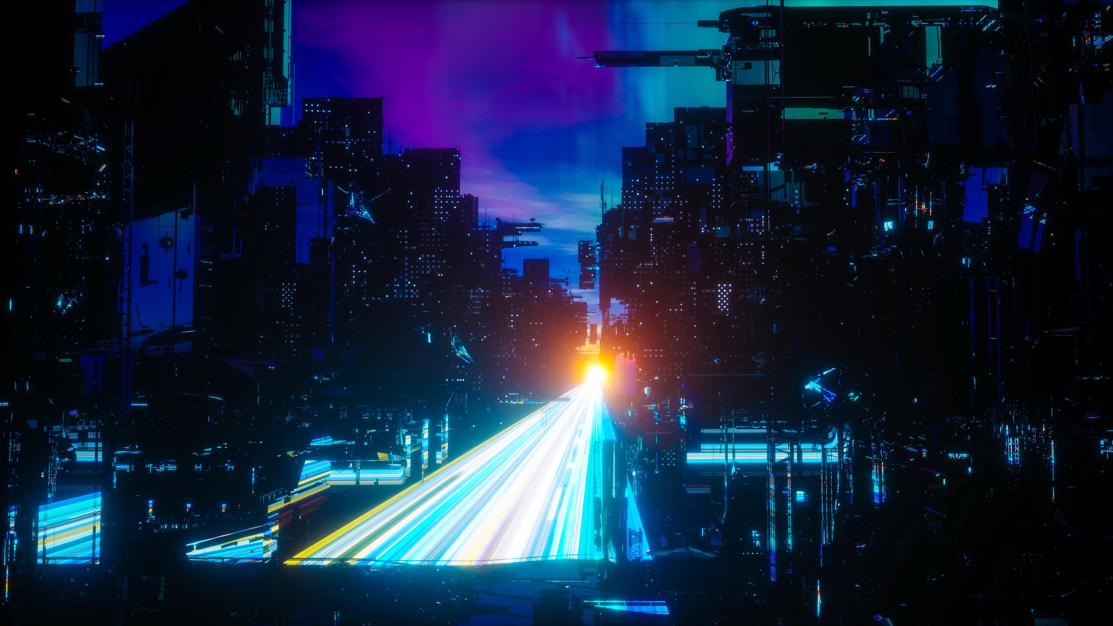 city night sci fi neon bridge mega structures 4k 1541971207 - city, night, sci fi, neon, bridge, mega structures 4k - sci fi, Night, City