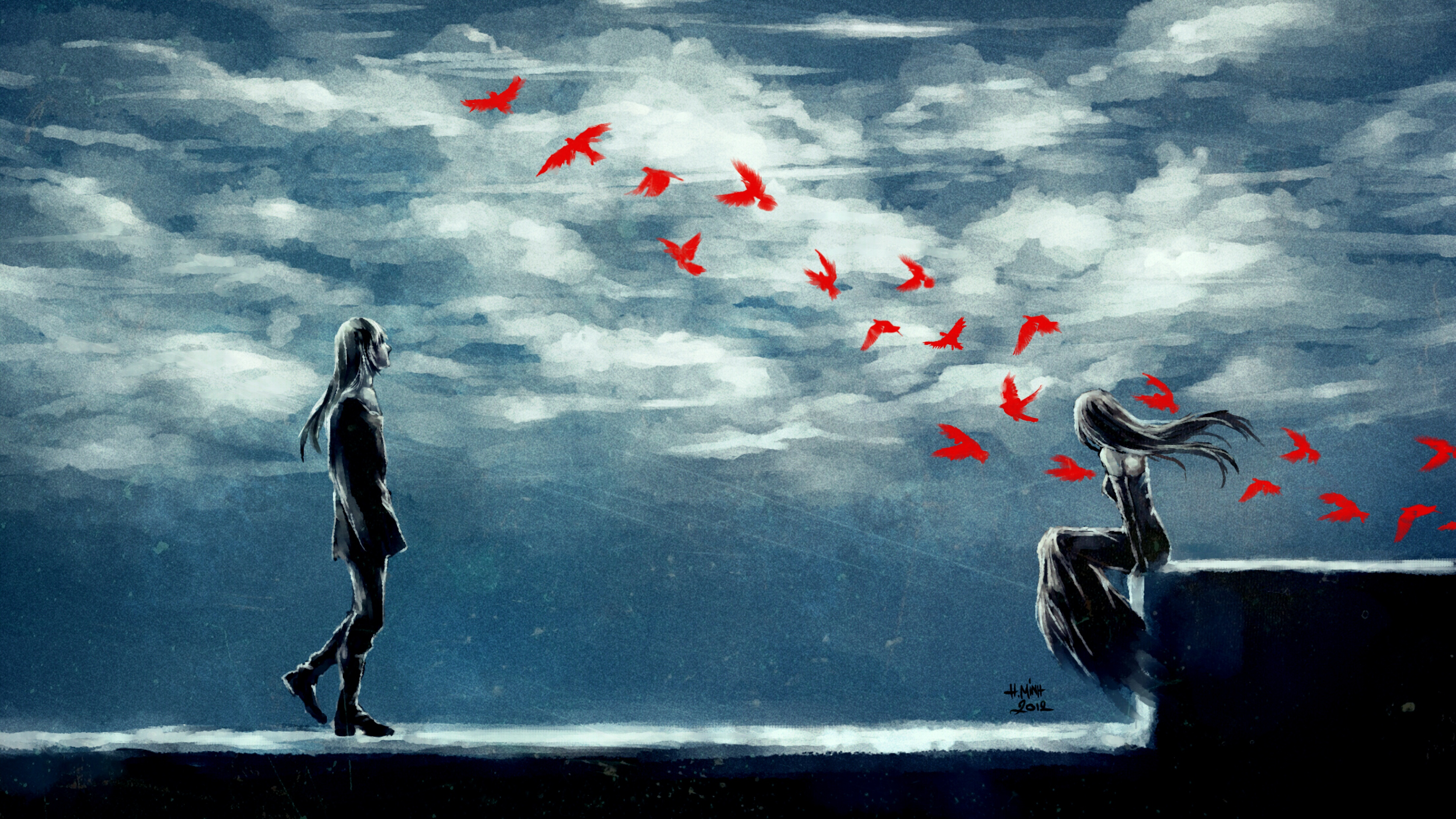 clouds anime girl and boy 1541973537 - Clouds Anime Girl and Boy - digital art wallpapers, birds wallpapers, artist wallpapers, art wallpapers, anime wallpapers, anime girl wallpapers, anime boy wallpapers, alone wallpapers