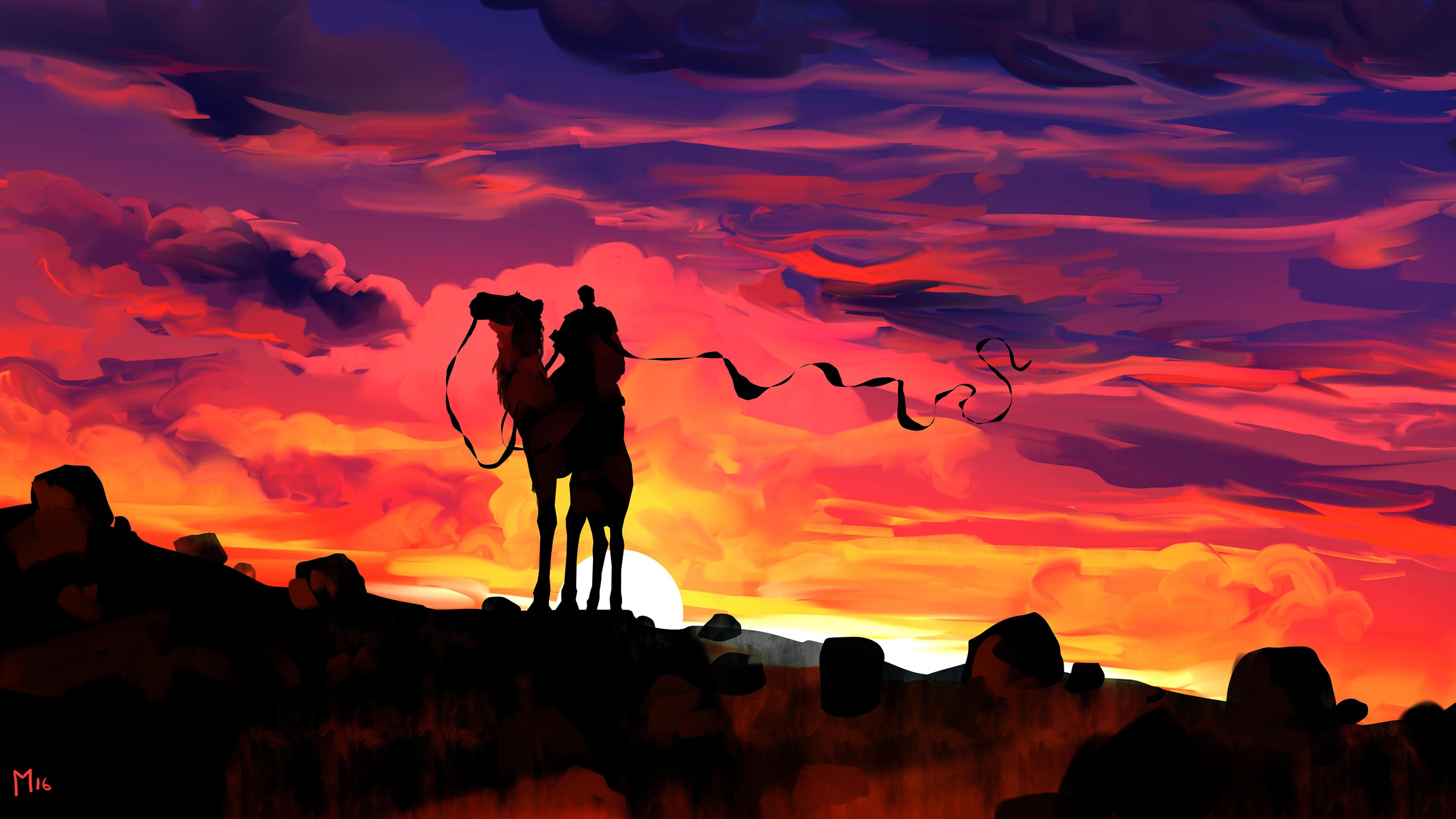 clouds dawn camel rider fantasy illustration 4k 1541970907 - Clouds Dawn Camel Rider Fantasy Illustration 4k - sunset wallpapers, illustration wallpapers, hd-wallpapers, digital art wallpapers, camel wallpapers, behance wallpapers, artwork wallpapers, artist wallpapers, 4k-wallpapers