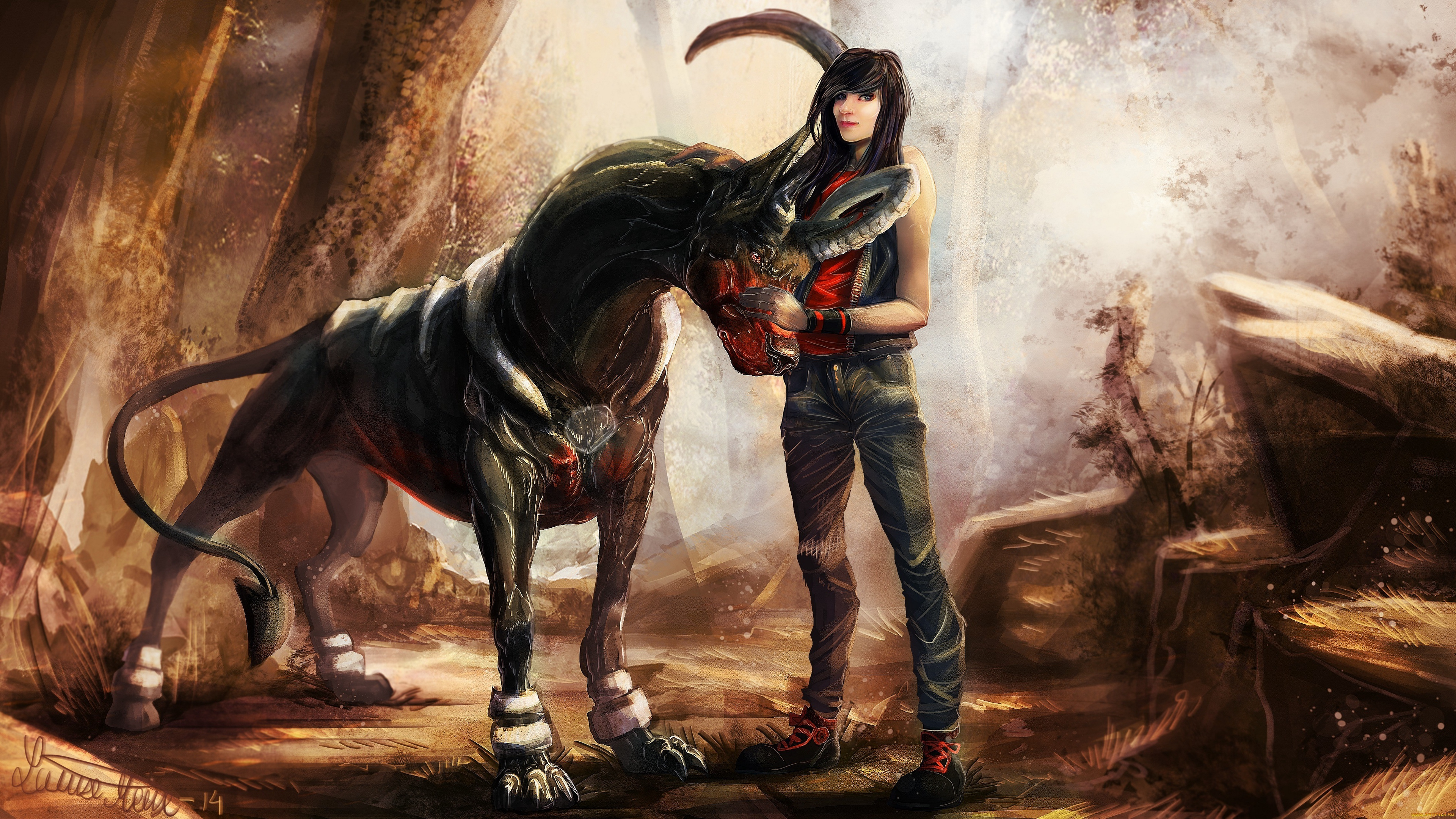 creature dog houndoom pokemon girl 4k 1541975754 - creature dog, houndoom, pokemon, girl 4k - pokemon, houndoom, creature dog