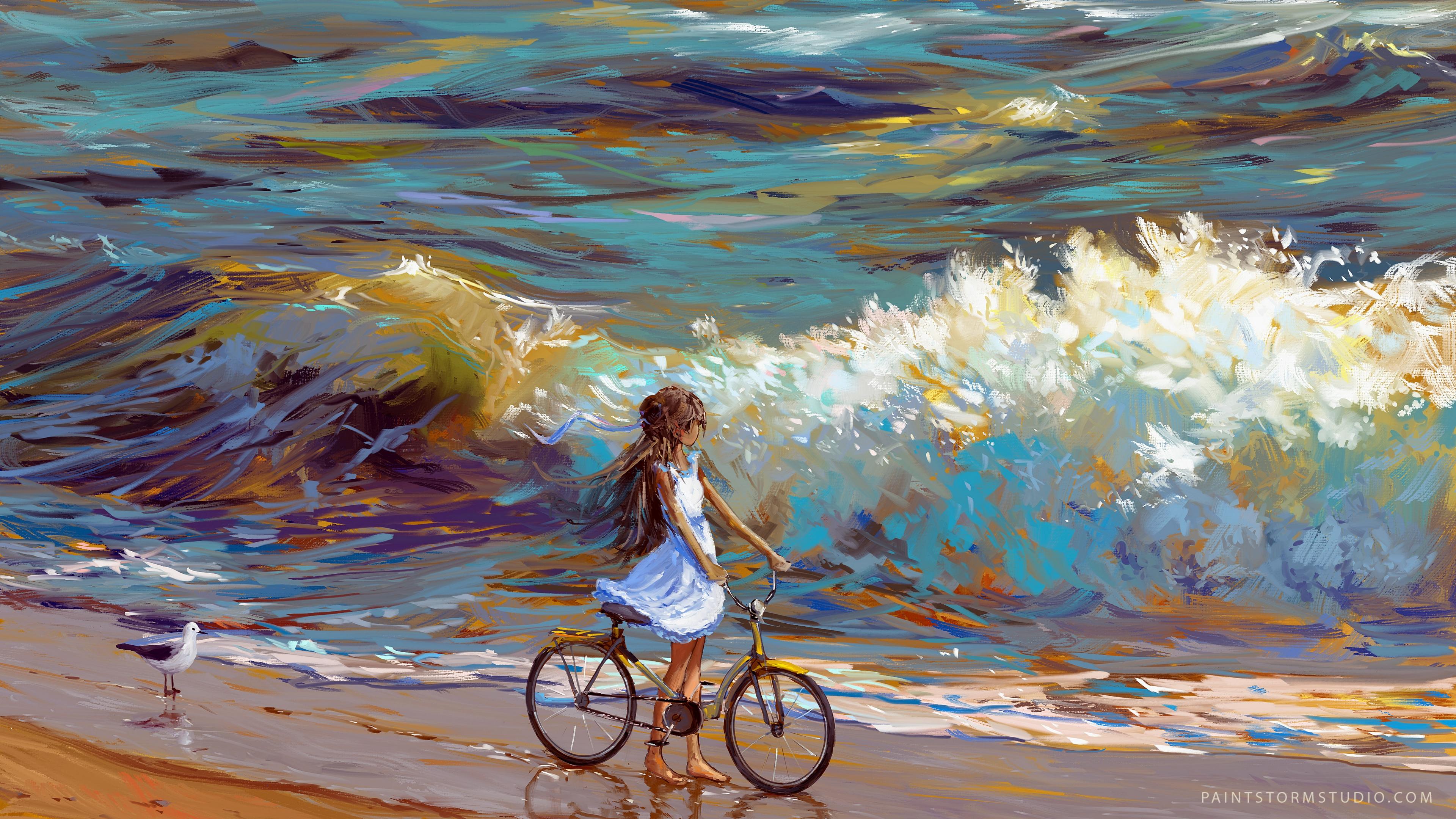cyclist bicycle child art sea shore 4k 1541971592 - cyclist, bicycle, child, art, sea, shore 4k - cyclist, child, Bicycle