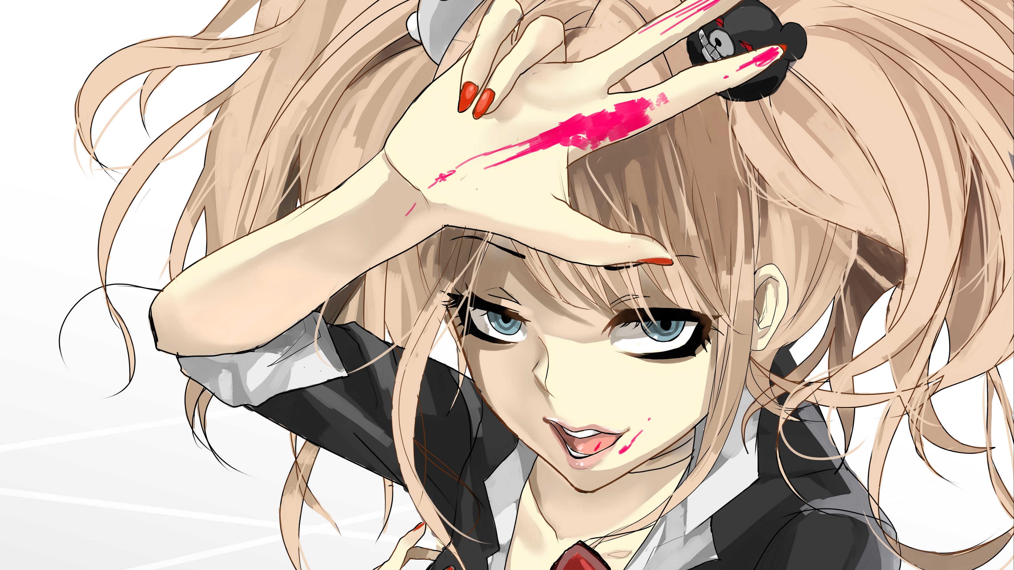 danganronpa girl anime face paint 4k 1541975948 - danganronpa, girl, anime, face, paint 4k - Girl, danganronpa, Anime