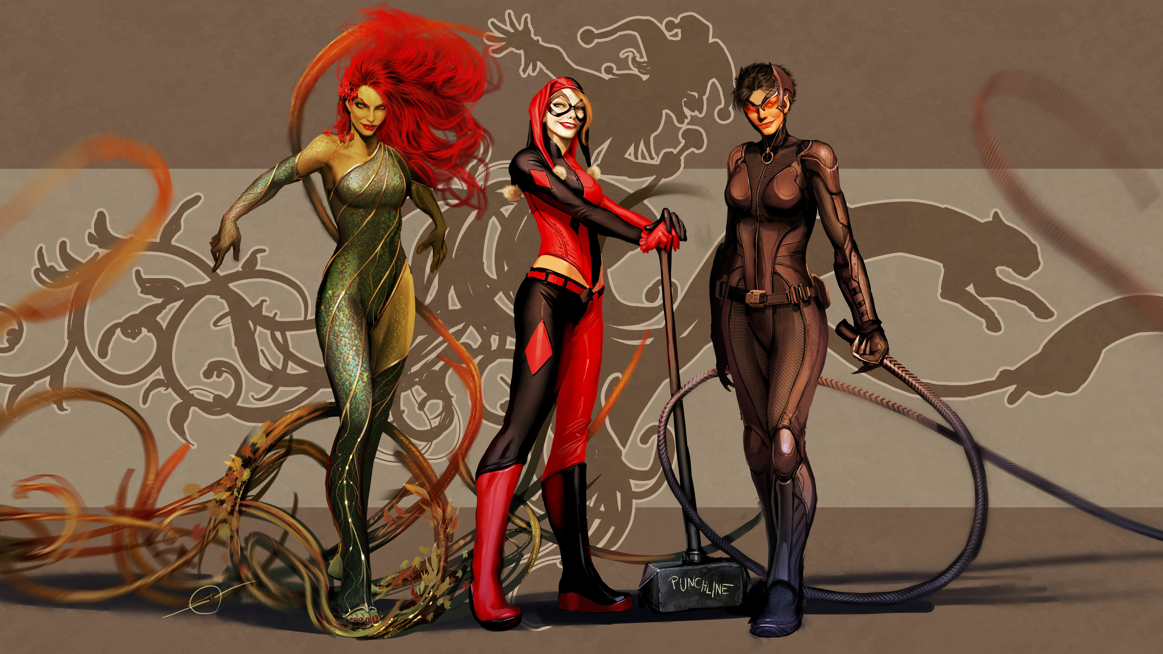dc supervillain 14k 1543620125 - Dc Supervillain 14k - superheroes wallpapers, poison ivy wallpapers, hd-wallpapers, harley quinn wallpapers, catwoman wallpapers, artwork wallpapers, 4k-wallpapers, 14k wallpapers
