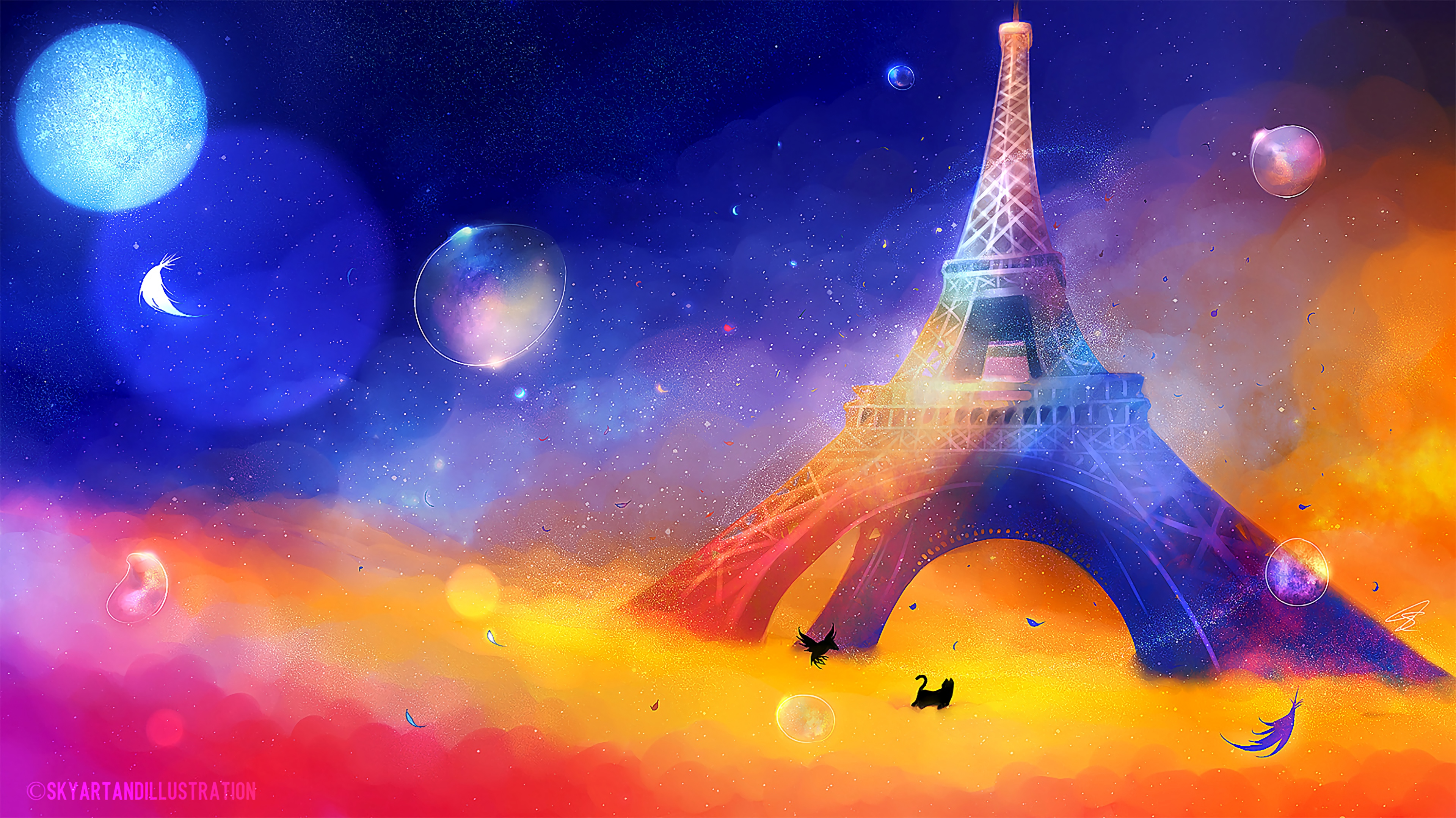 eiffel tower art cat bird colorful 4k 1541971590 - eiffel tower, art, cat, bird, colorful 4k - eiffel tower, Cat, art