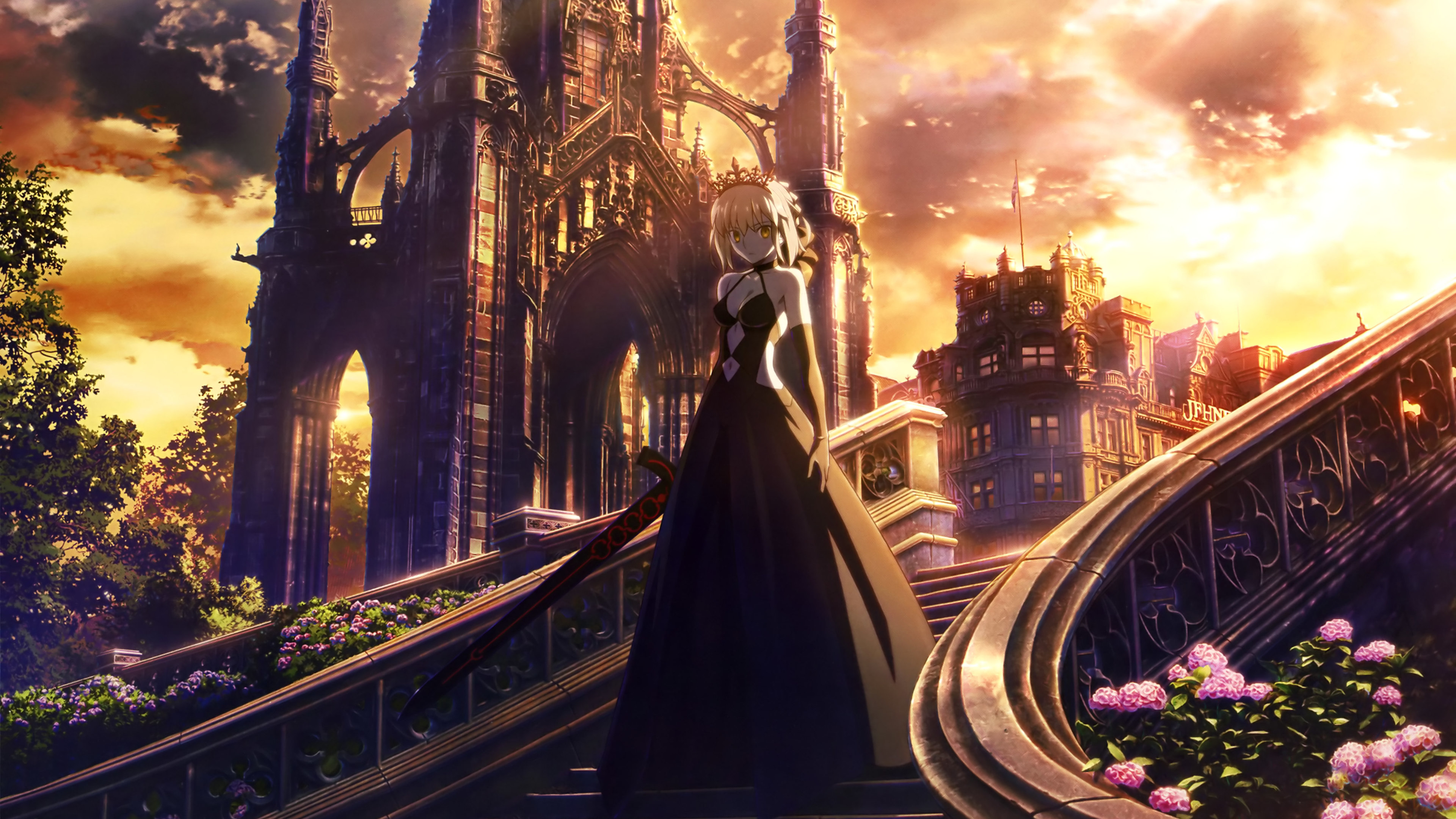 Wallpaper 4k Fate Stay Night Anime Girl Walking Through Stairs 4k