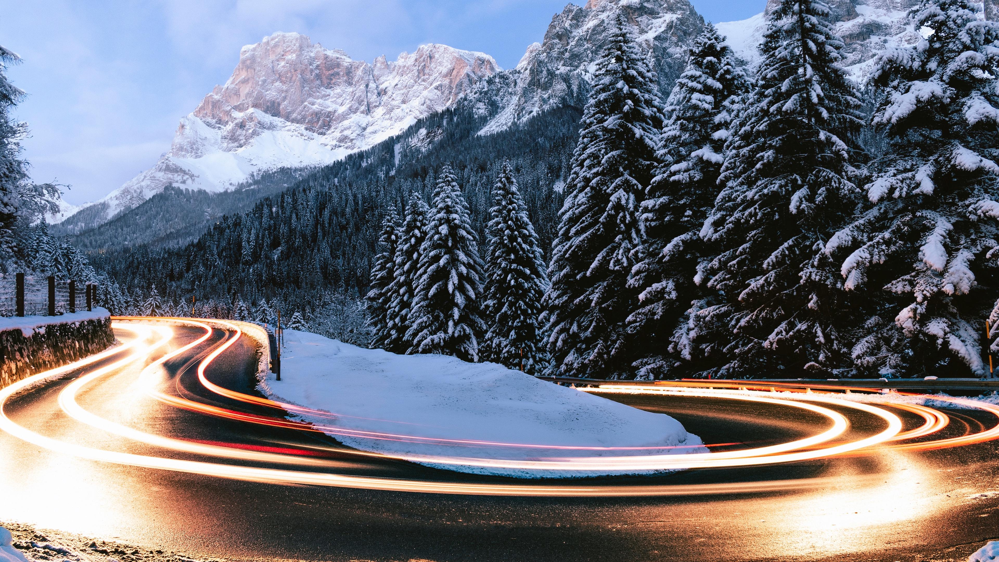 fir winter turn road snow 4k 1541114507 - fir, winter, turn, road, snow 4k - Winter, turn, fir