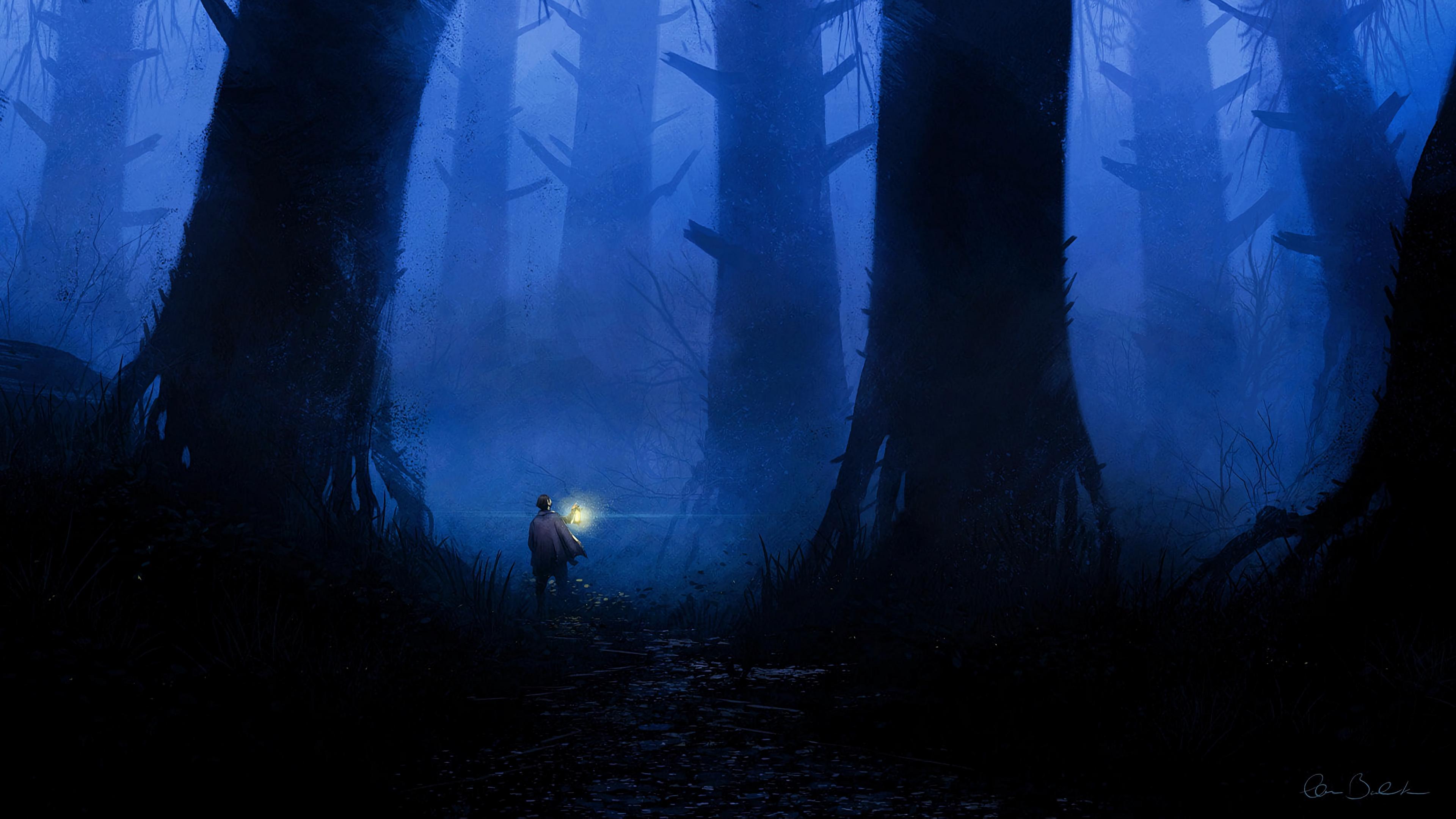 forest loneliness art lantern trees fog 4k 1541971206 - forest, loneliness, art, lantern, trees, fog 4k - loneliness, Forest, art