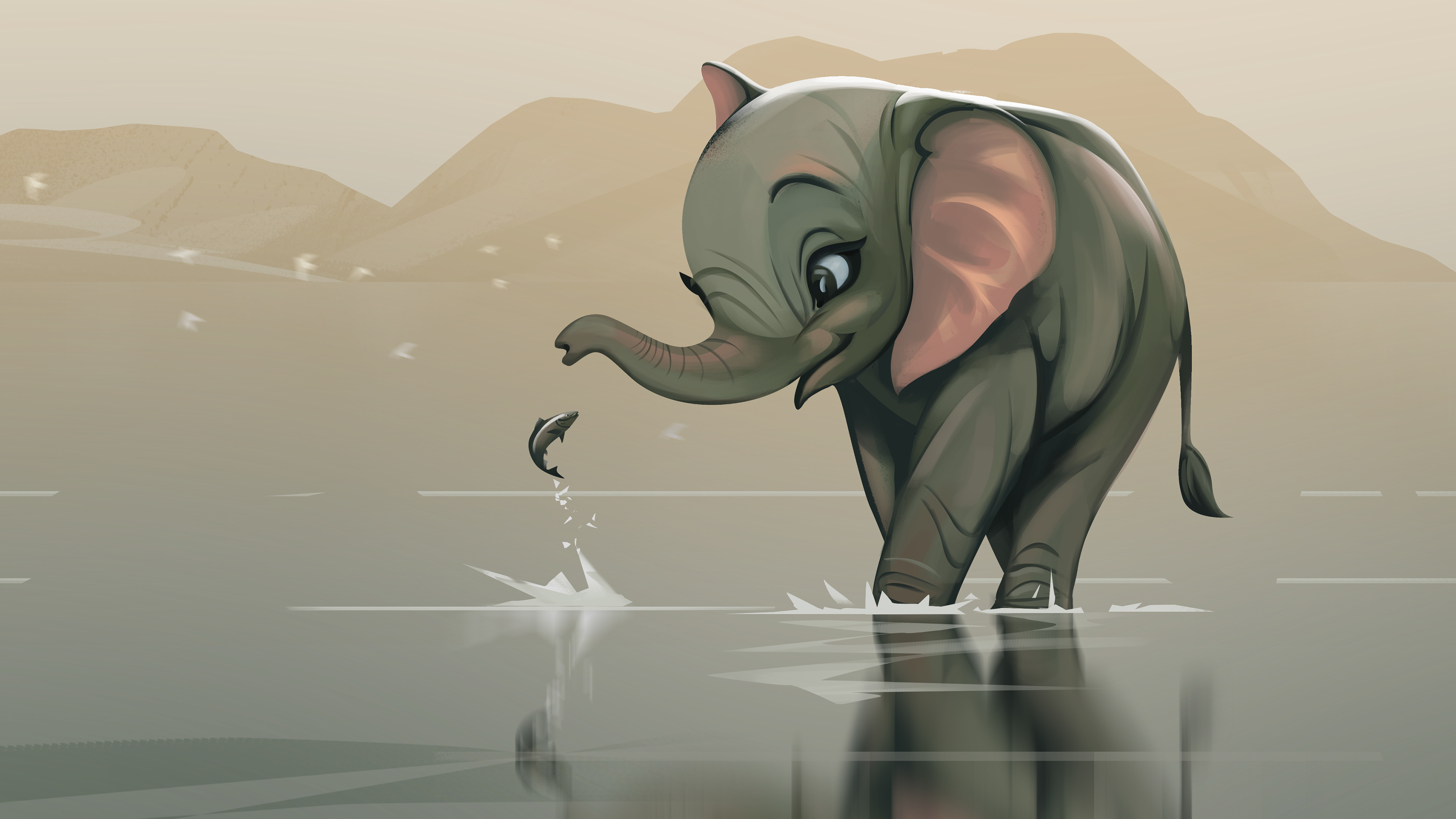 friends forever illustration 1541970707 - Friends Forever Illustration - illustration wallpapers, hd-wallpapers, fish wallpapers, elephant wallpapers, digital art wallpapers, behance wallpapers, artwork wallpapers, artist wallpapers, 4k-wallpapers