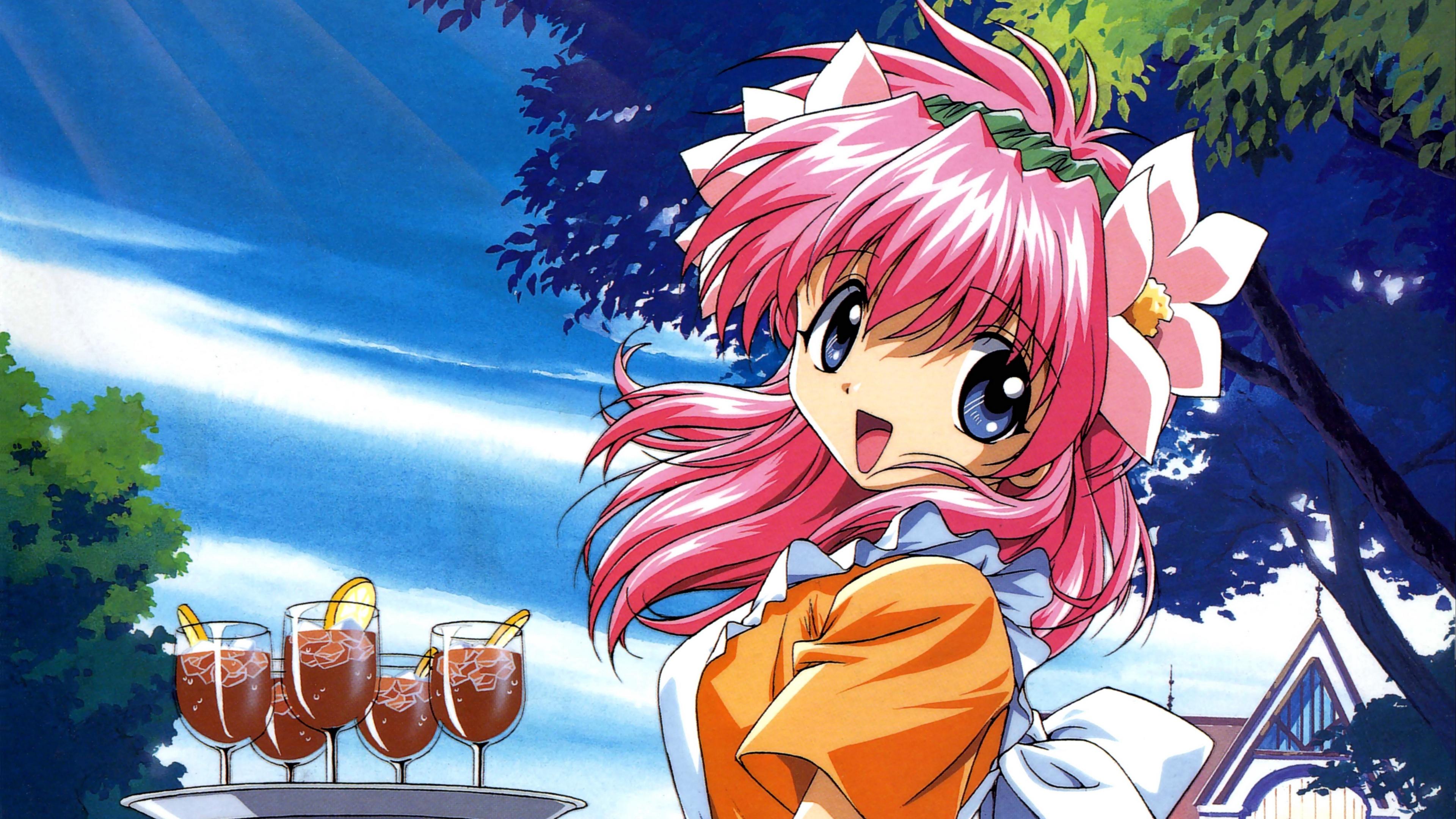 galaxy angel girl pink hair tray 4k 1541975562 - galaxy angel, girl, pink hair, tray 4k - pink hair, Girl, galaxy angel