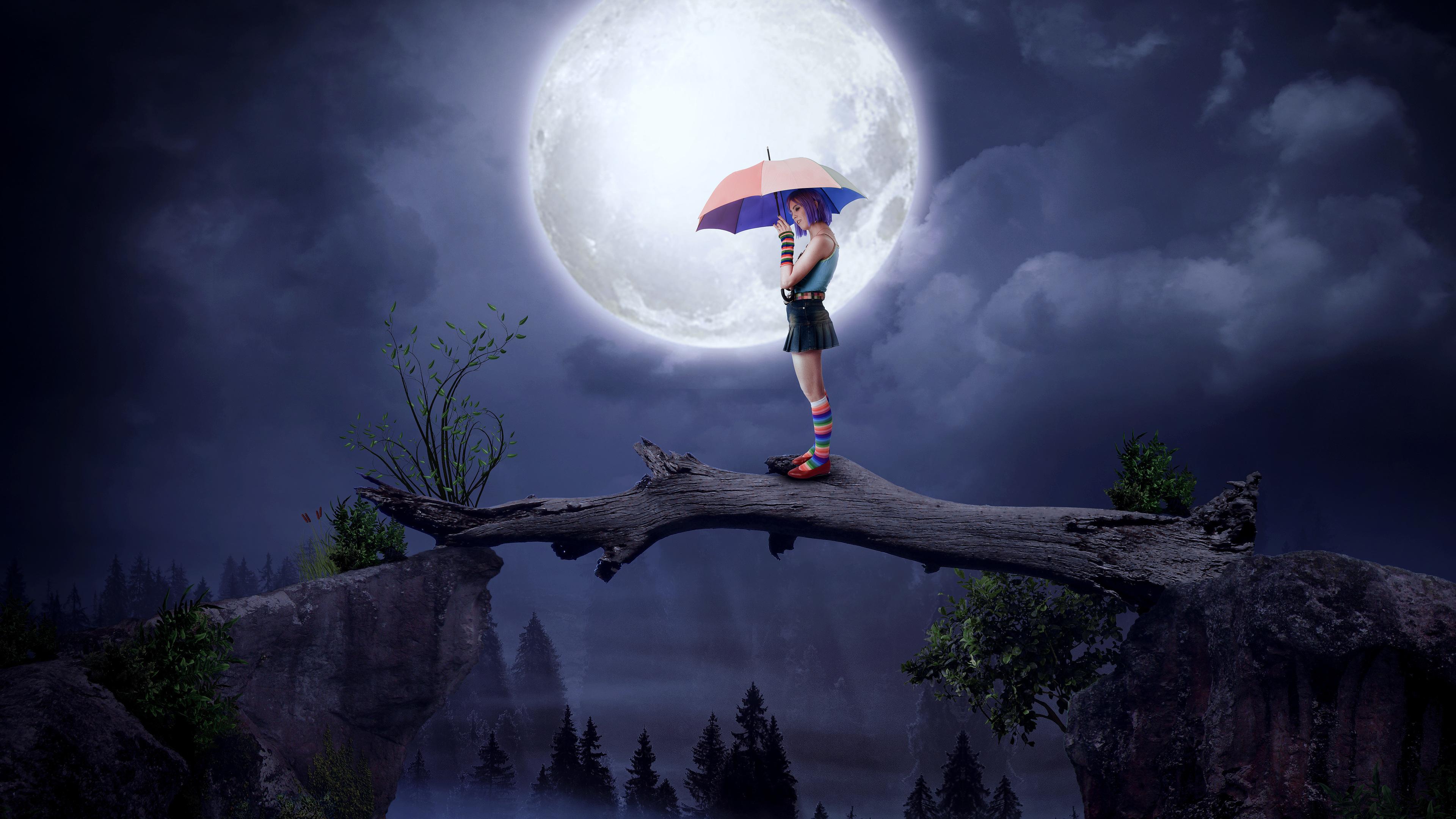 Wallpaper 4k Girl With Umbrella Big Moon Digital Art 4k 4k