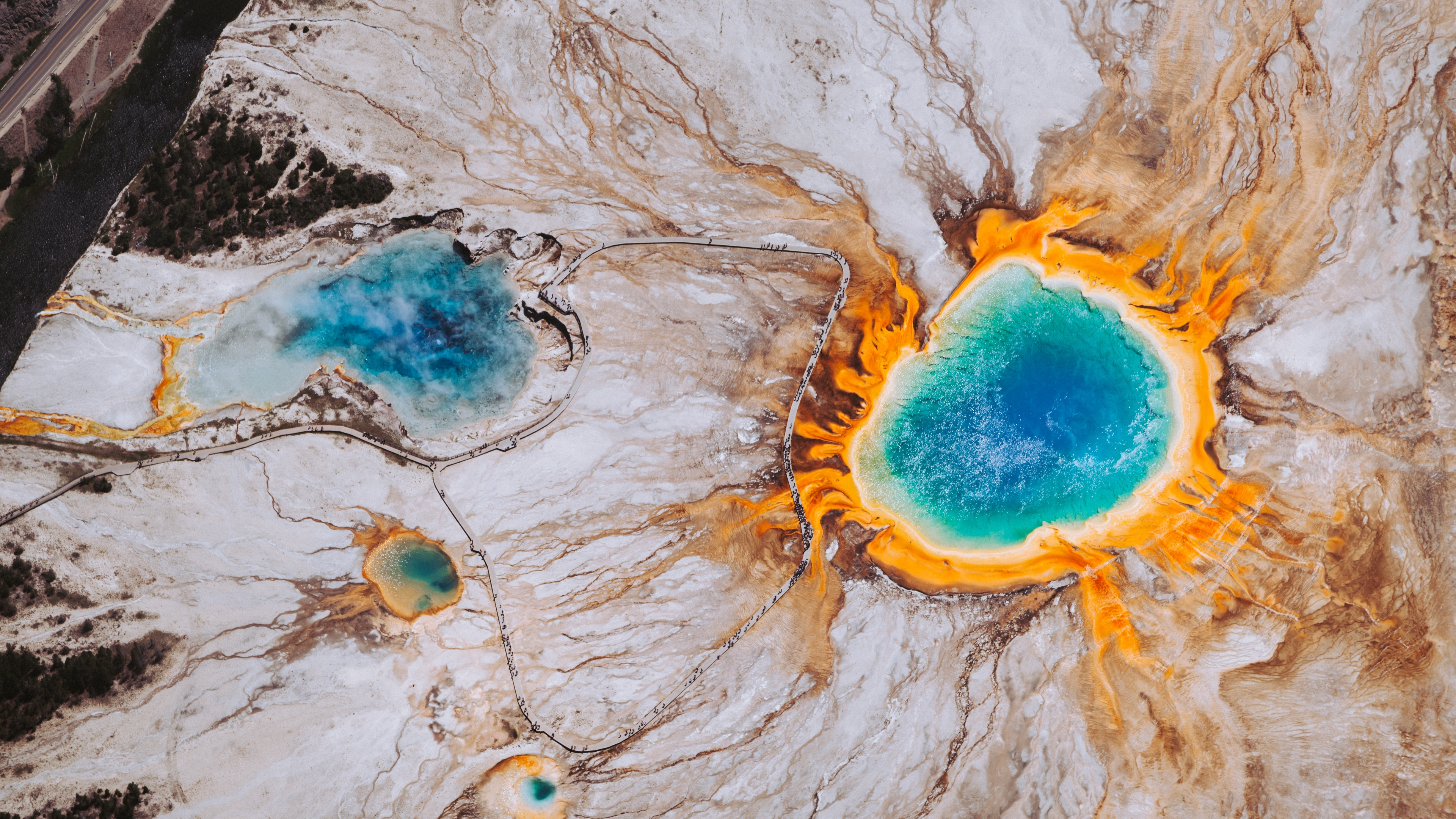 grand prismatic spring surface scenic wyoming united states 4k 1541115453 - grand prismatic spring, surface, scenic, wyoming, united states 4k - Surface, Scenic, grand prismatic spring