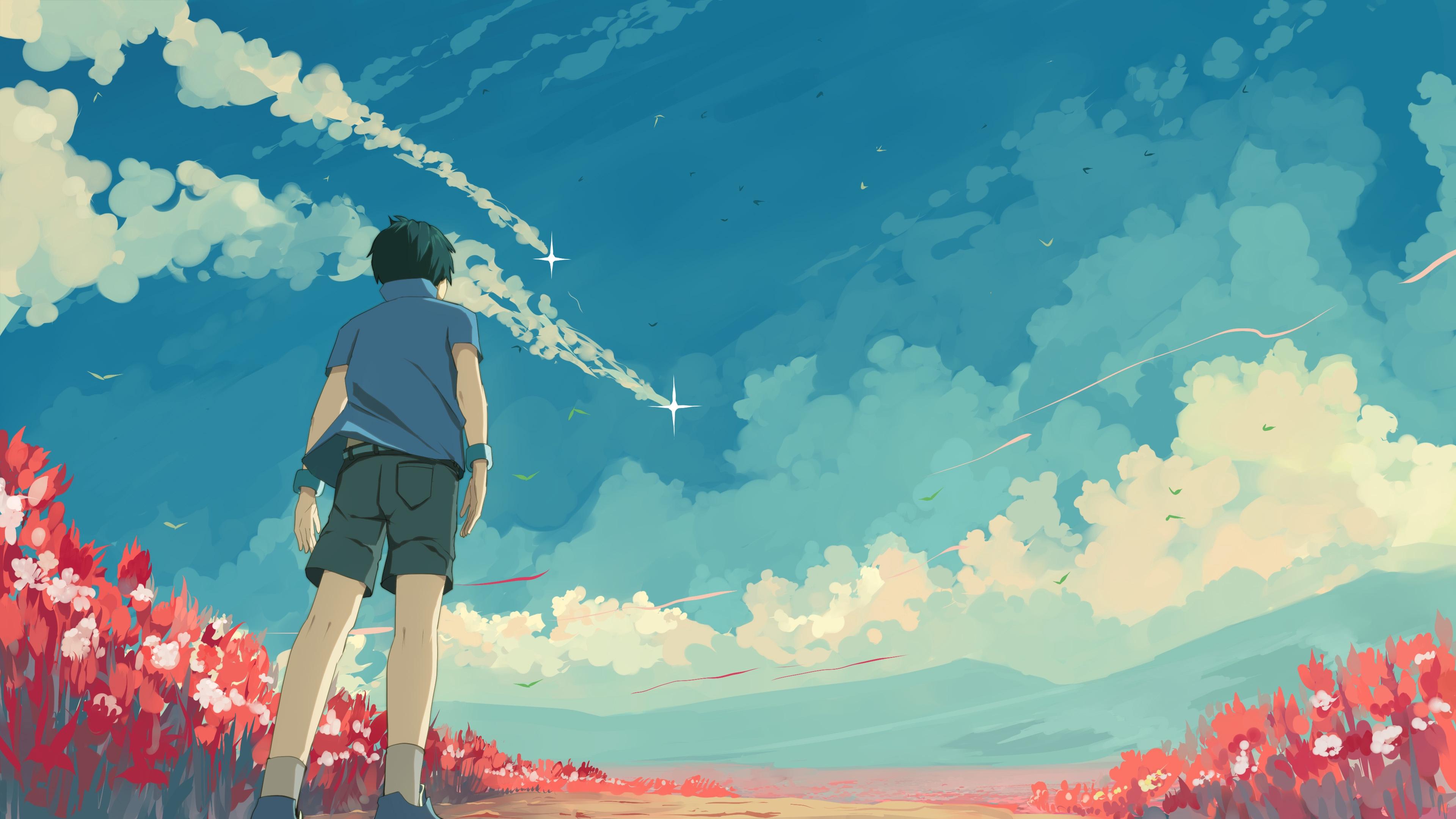 guy sky stars art 4k 1541971182 - guy, sky, stars, art 4k - Stars, Sky, guy