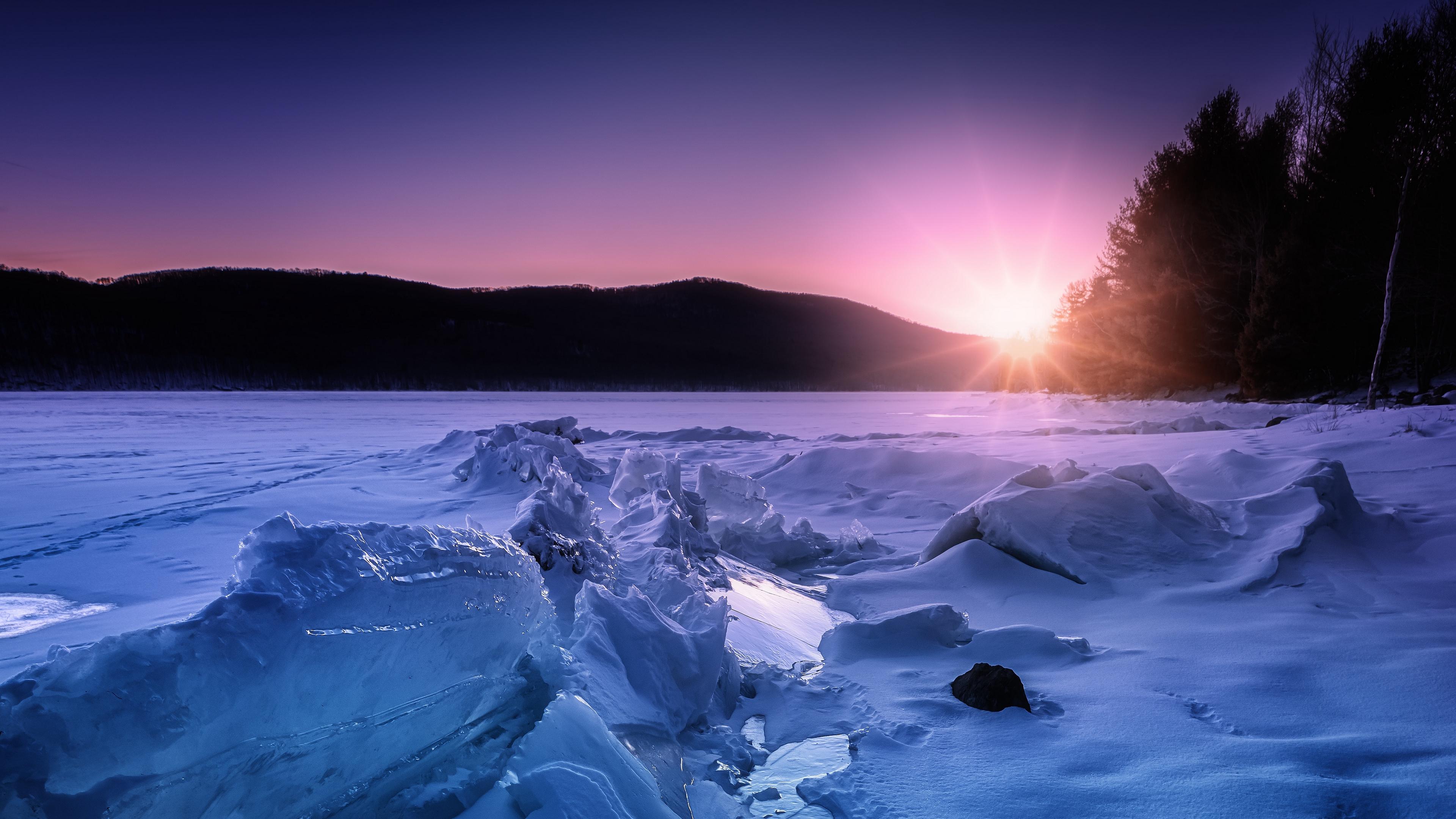 ice snow sunset horizon 4k 1541116665 - ice, snow, sunset, horizon 4k - sunset, Snow, Ice