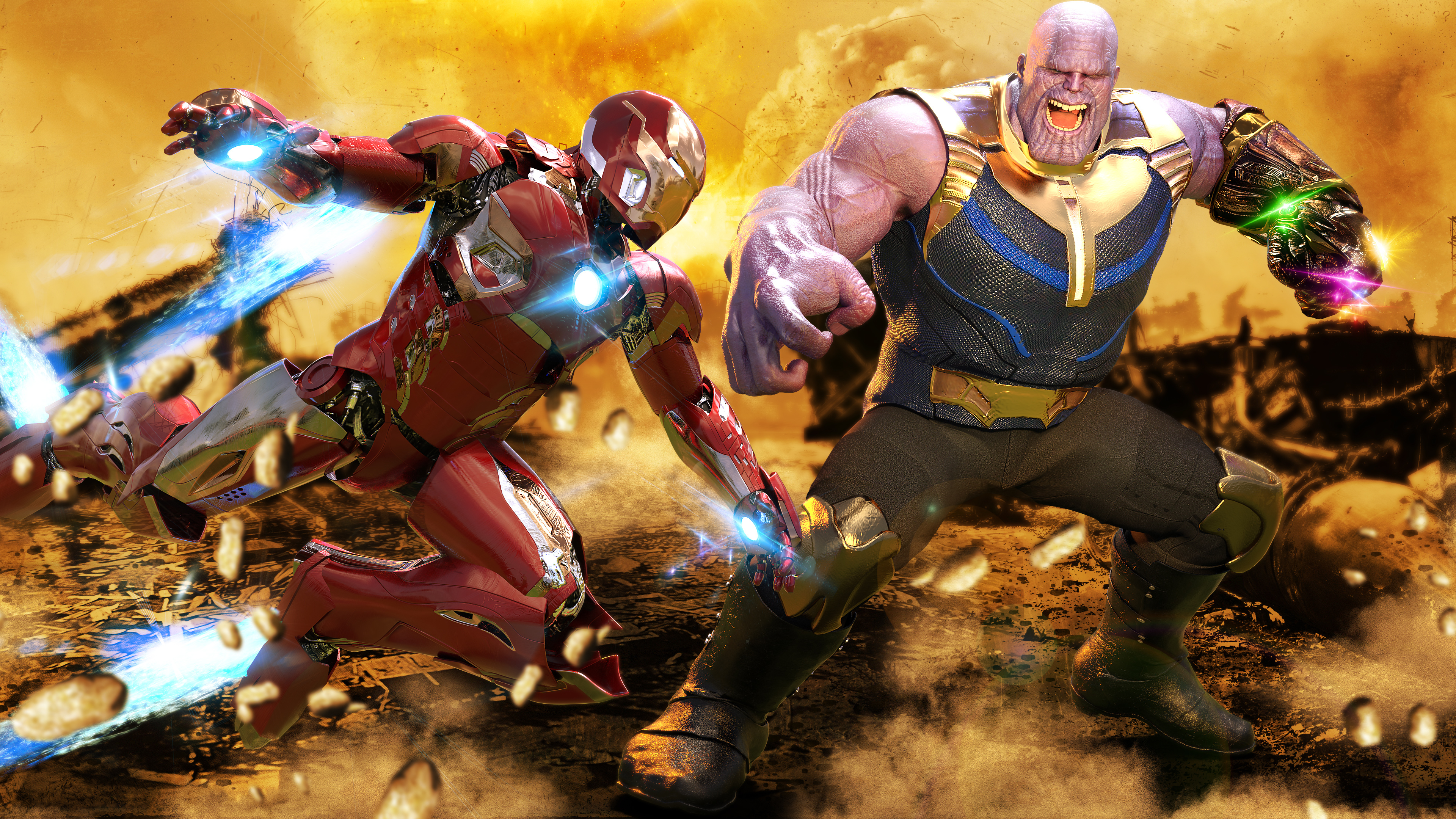 Wallpaper 4k Iron Man Vs Thanos 4k 4k Wallpapers Deviantart