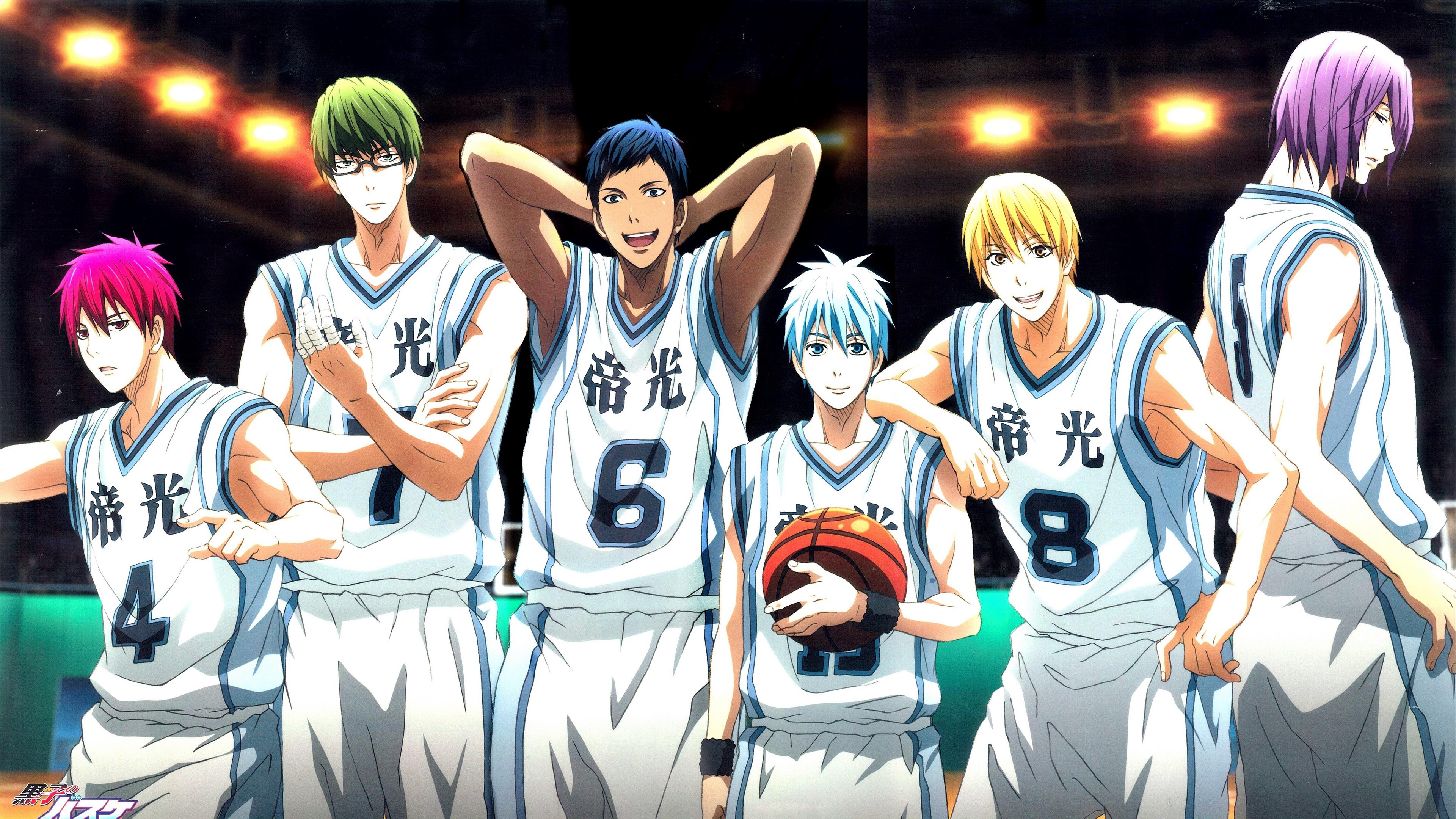 Wallpaper 4k Kuroko No Basket Team Akashi Seijuurou Aomine Daiki Kise Ryouta Kuroko Tetsuya Midorima Shintarou Murasakibara Atsushi 4k Akashi Seijuurou Kuroko No Basket Team
