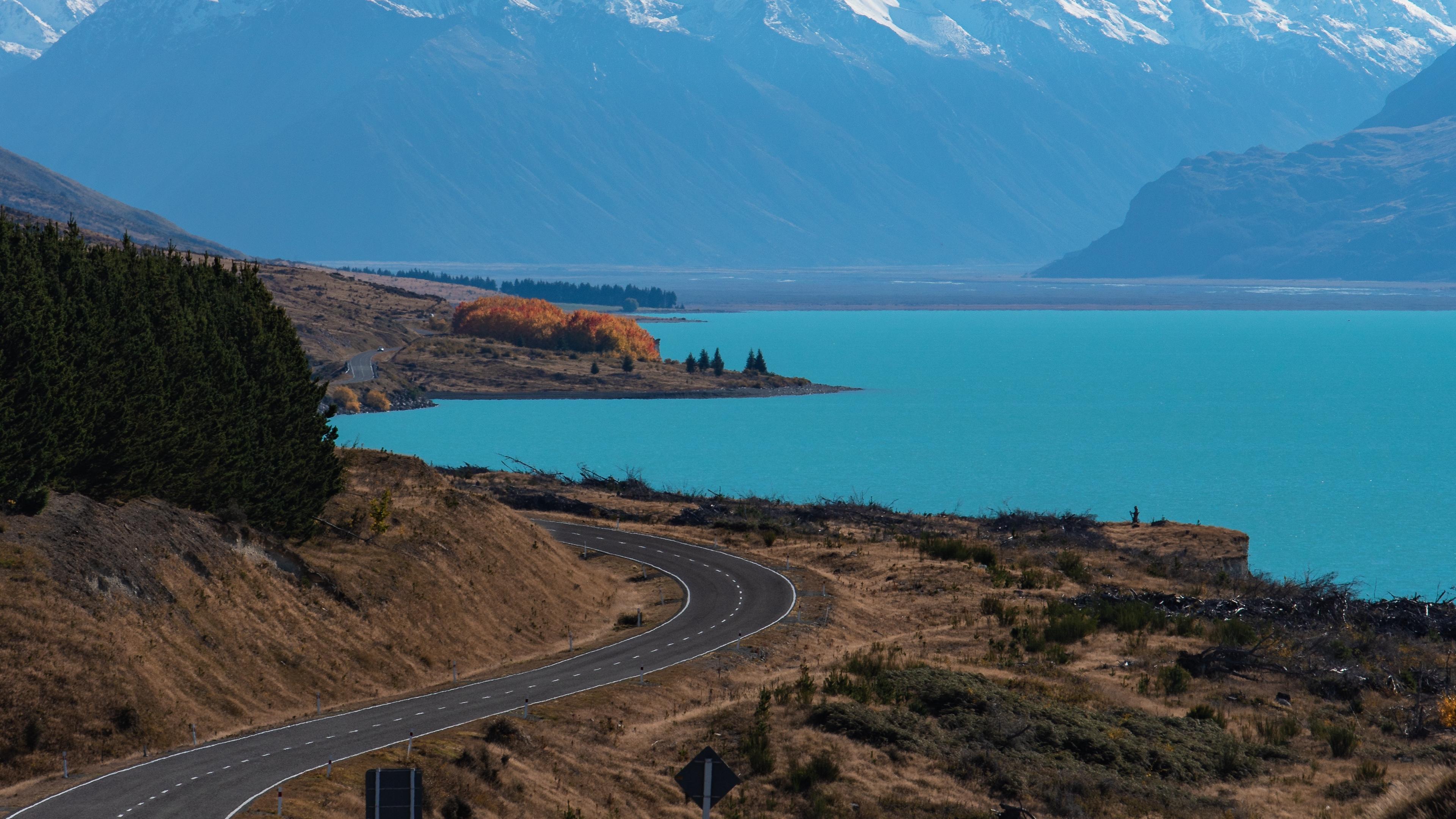 lake pukaki new zealand road mountains turn 4k 1541115259 - lake pukaki, new zealand, road, mountains, turn 4k - Road, new zealand, lake pukaki