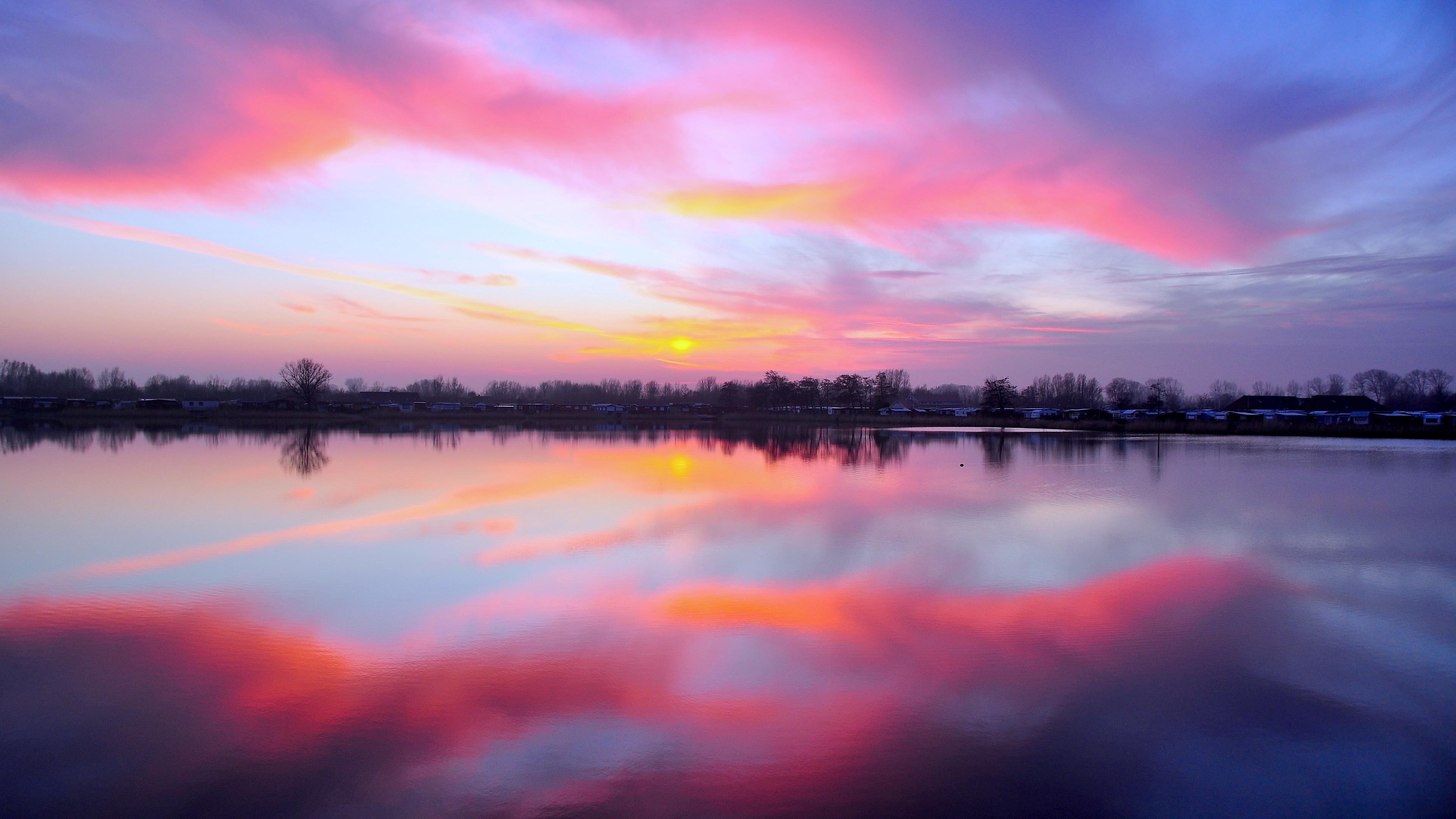lake sunset reflection sky horizon 4k 1541117827 - lake, sunset, reflection, sky, horizon 4k - sunset, reflection, Lake
