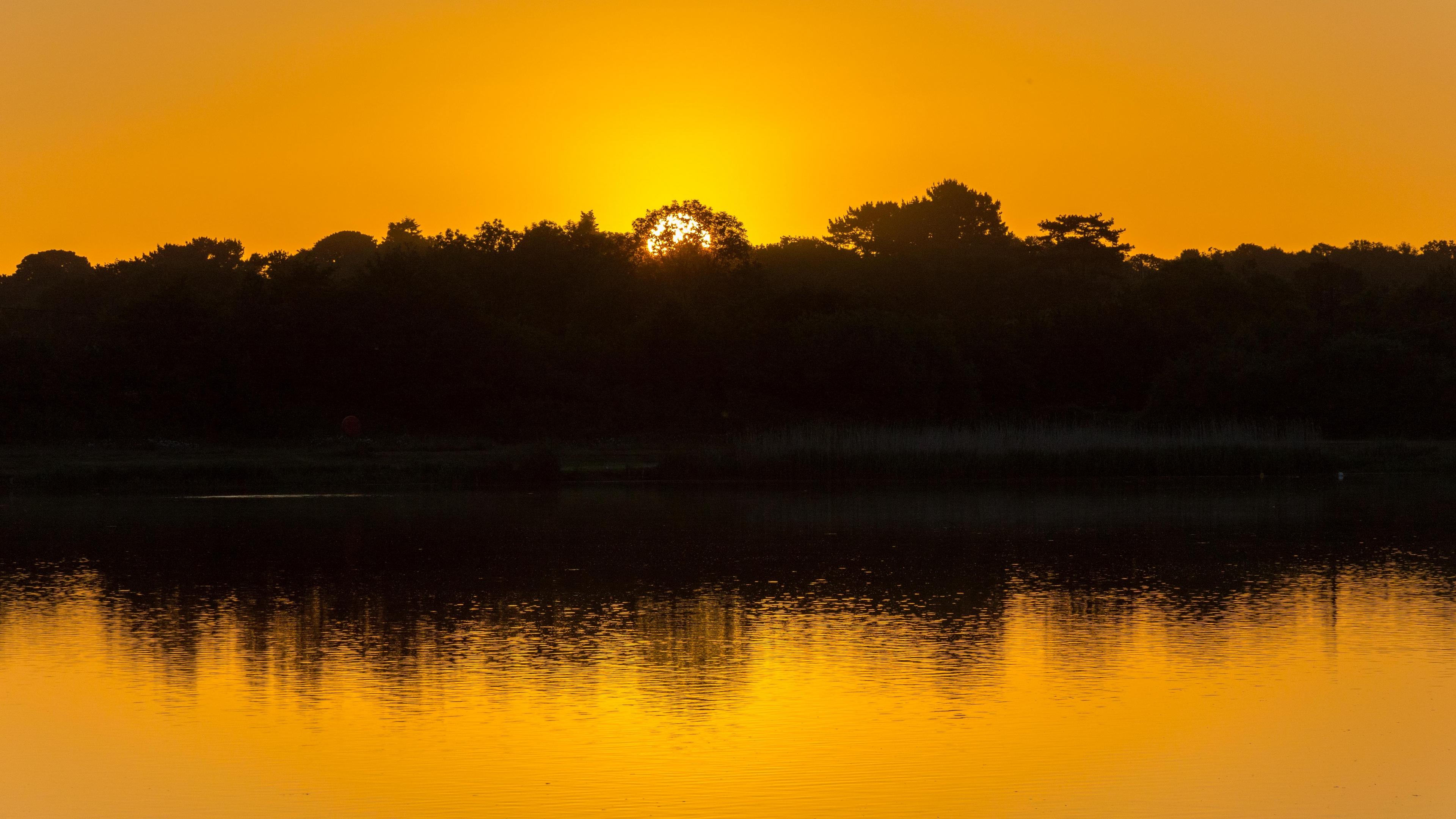 lake trees sunset reflection sky ripples 4k 1541117264 - lake, trees, sunset, reflection, sky, ripples 4k - Trees, sunset, Lake