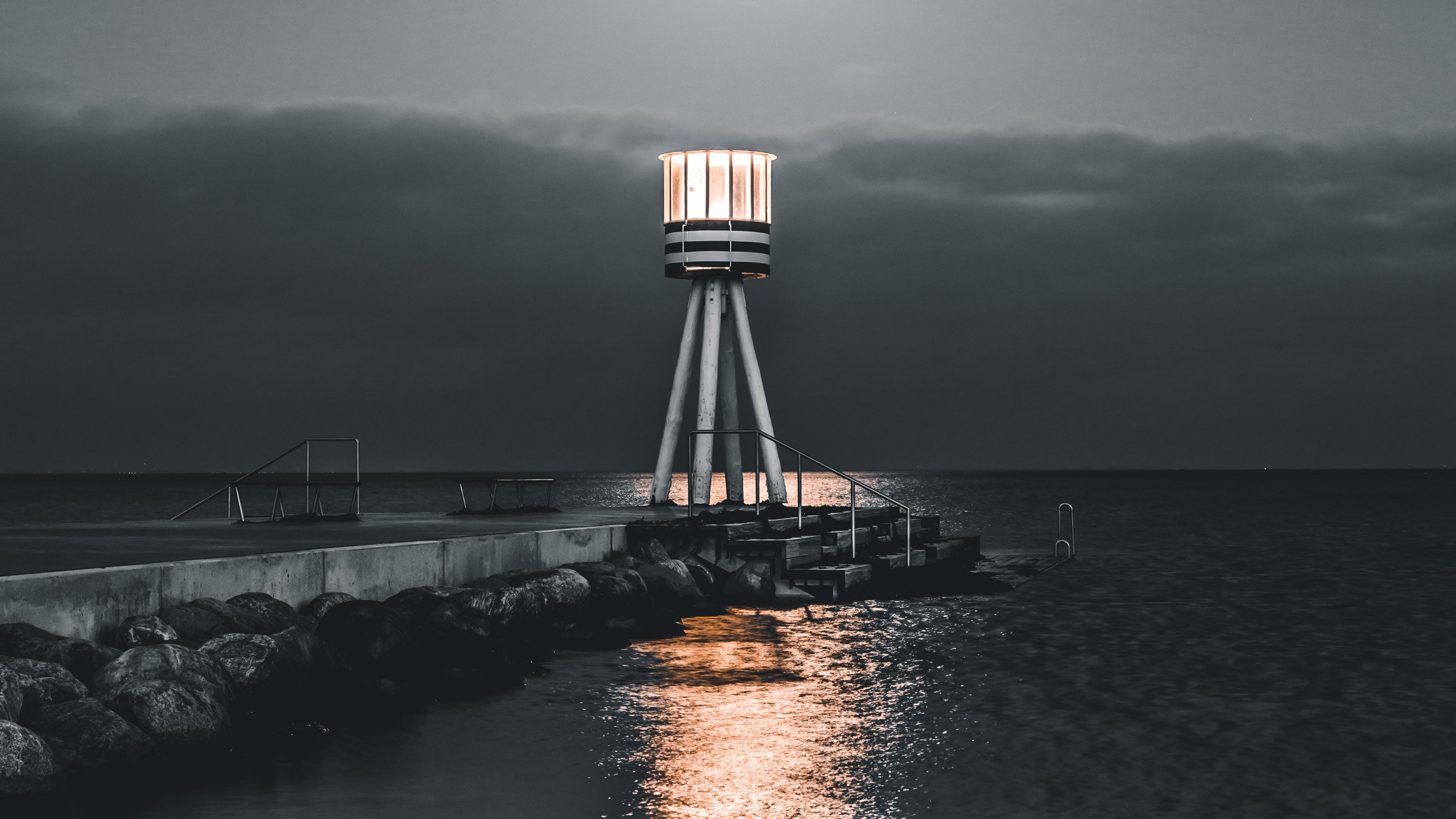 lighthouse sea pier night stones water 4k 1541116676 - lighthouse, sea, pier, night, stones, water 4k - Sea, pier, lighthouse