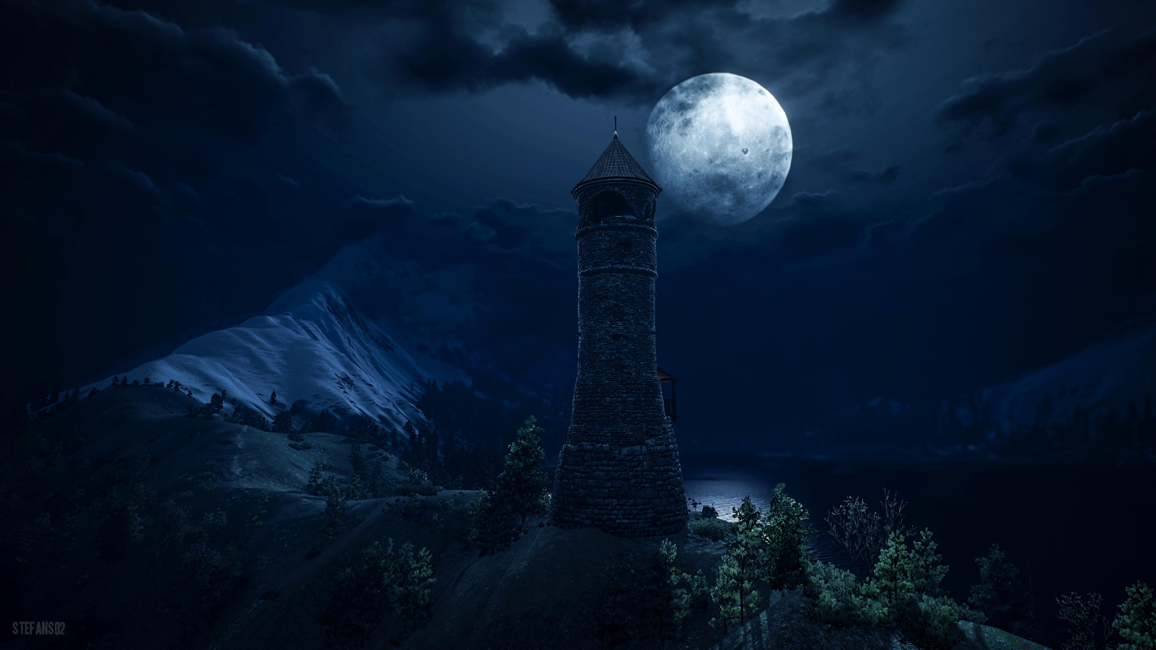 lighthouse tower full moon dark fantastic art 4k 1541971042 - lighthouse, tower, full moon, dark, fantastic, art 4k - Tower, lighthouse, full moon