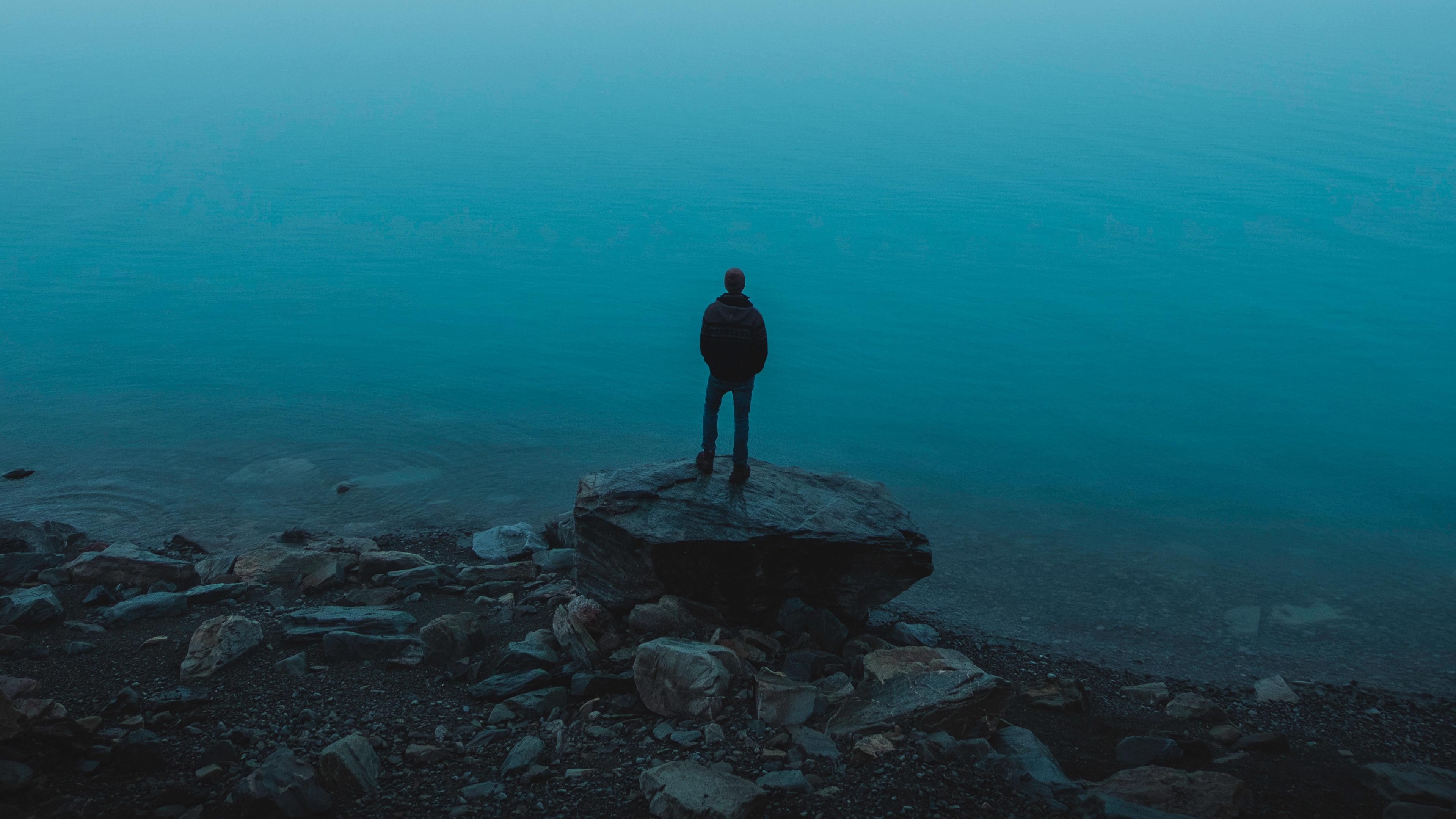 man sea stones loneliness alone 4k 1541115233 - man, sea, stones, loneliness, alone 4k - Stones, Sea, Man