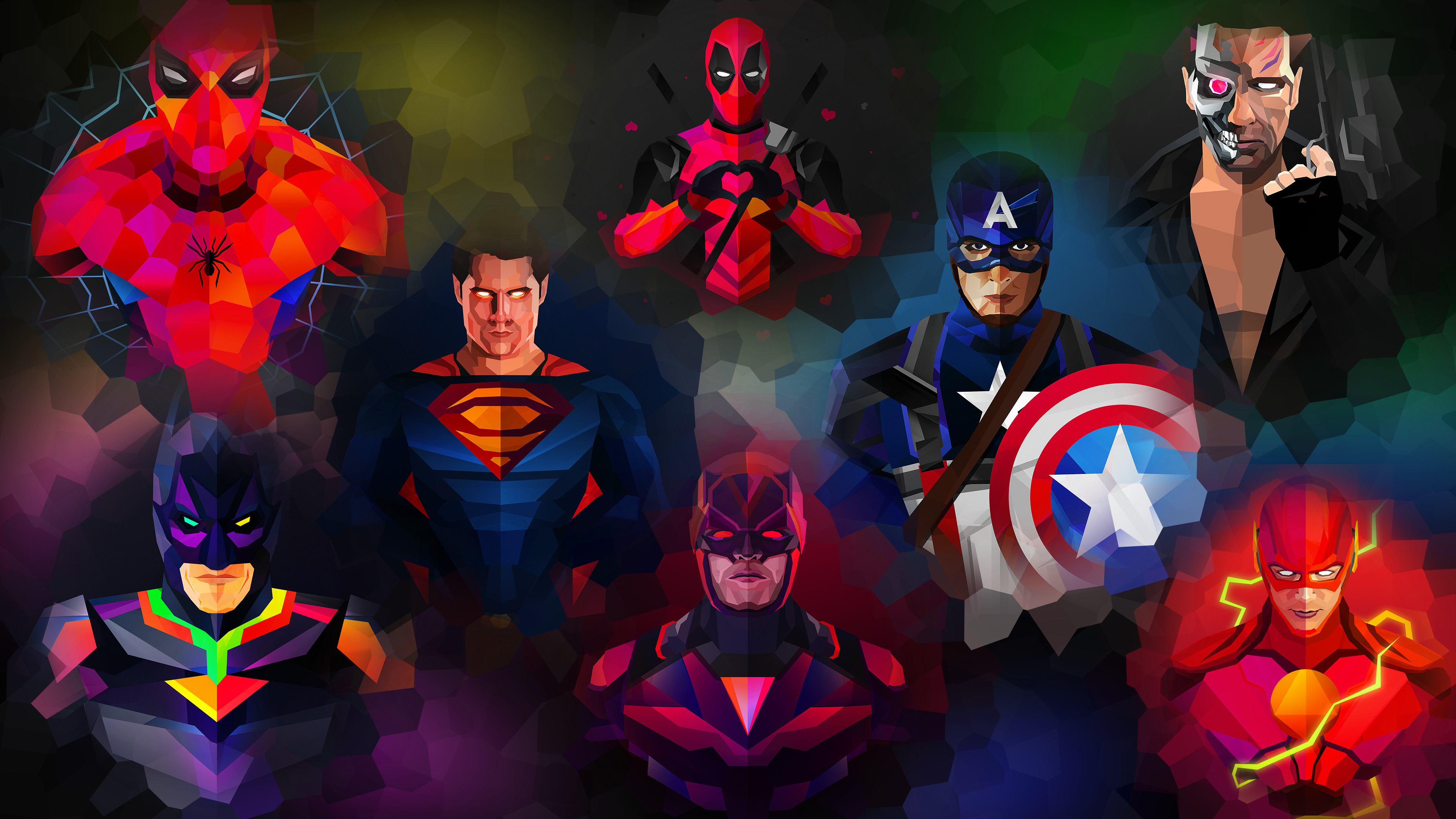 marvel and dc low poly art 1541294334 - Marvel And Dc Low Poly Art - superheroes wallpapers, marvel wallpapers, hd-wallpapers, dc comics wallpapers, 4k-wallpapers