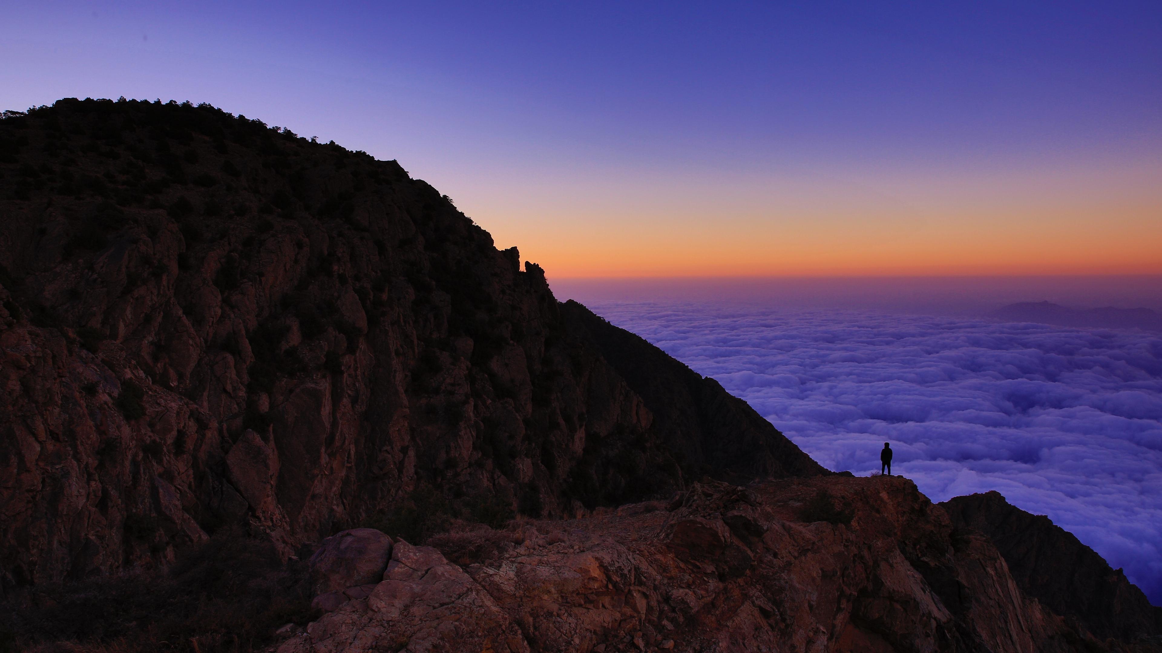 mountain man loneliness clouds al bahah saudi arabia 4k 1541115238 - mountain, man, loneliness, clouds, al bahah, saudi arabia 4k - Mountain, Man, loneliness