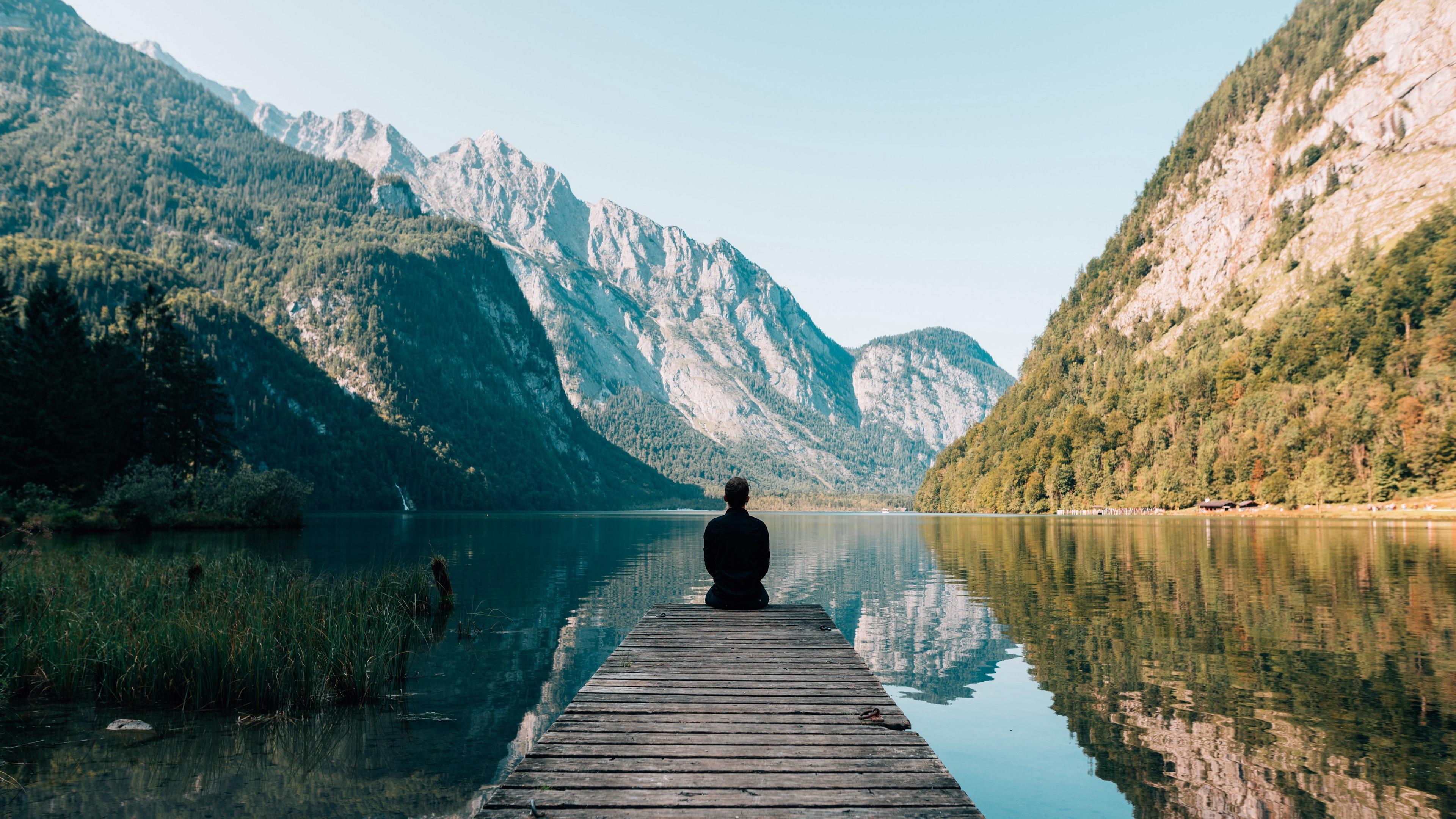mountains alone lake pier solitude 4k 1541113695 - mountains, alone, lake, pier, solitude 4k - Mountains, Lake, Alone