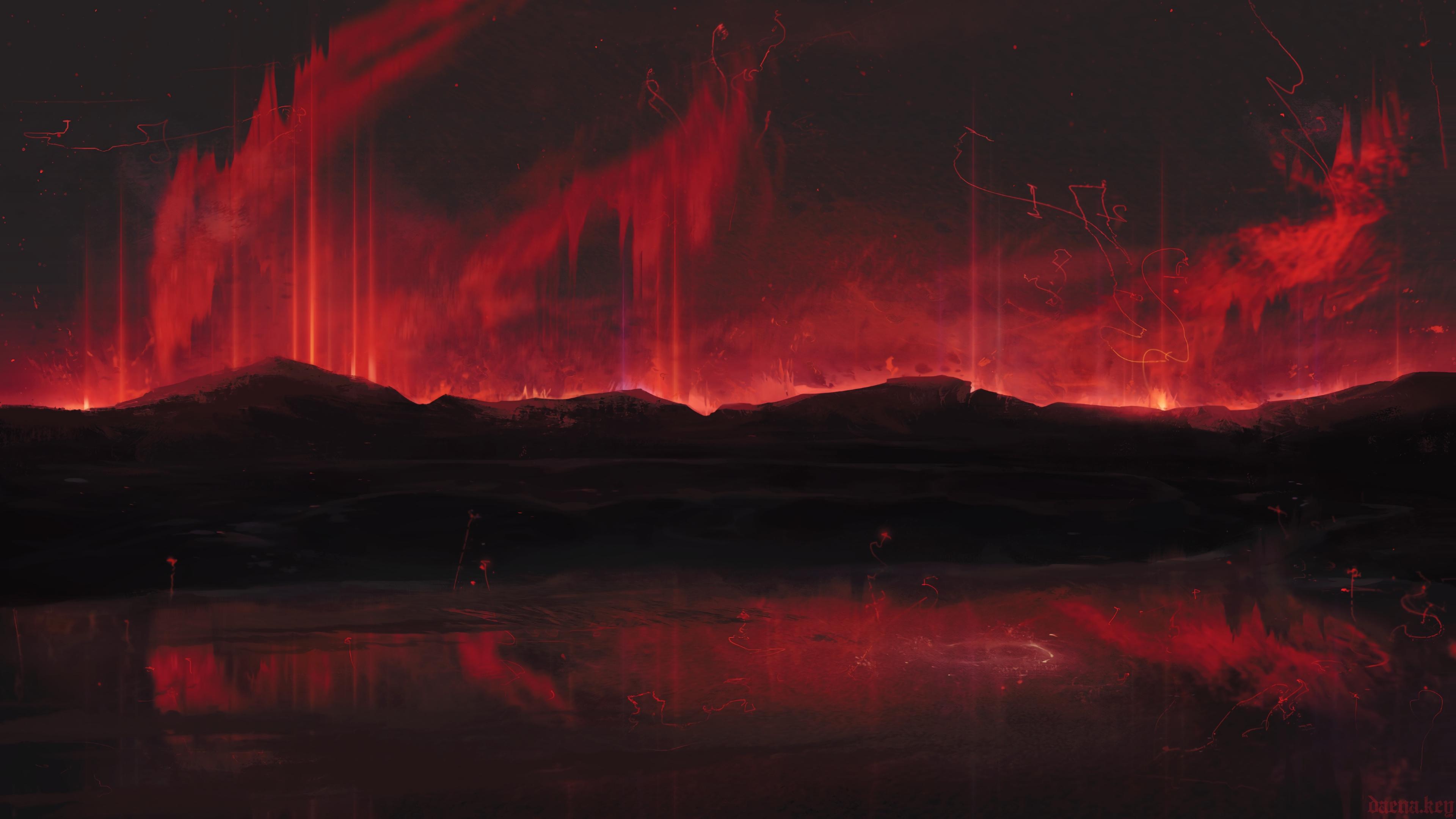 mountains art dark red spots 4k 1541971122 - mountains, art, dark, red, spots 4k - Mountains, Dark, art