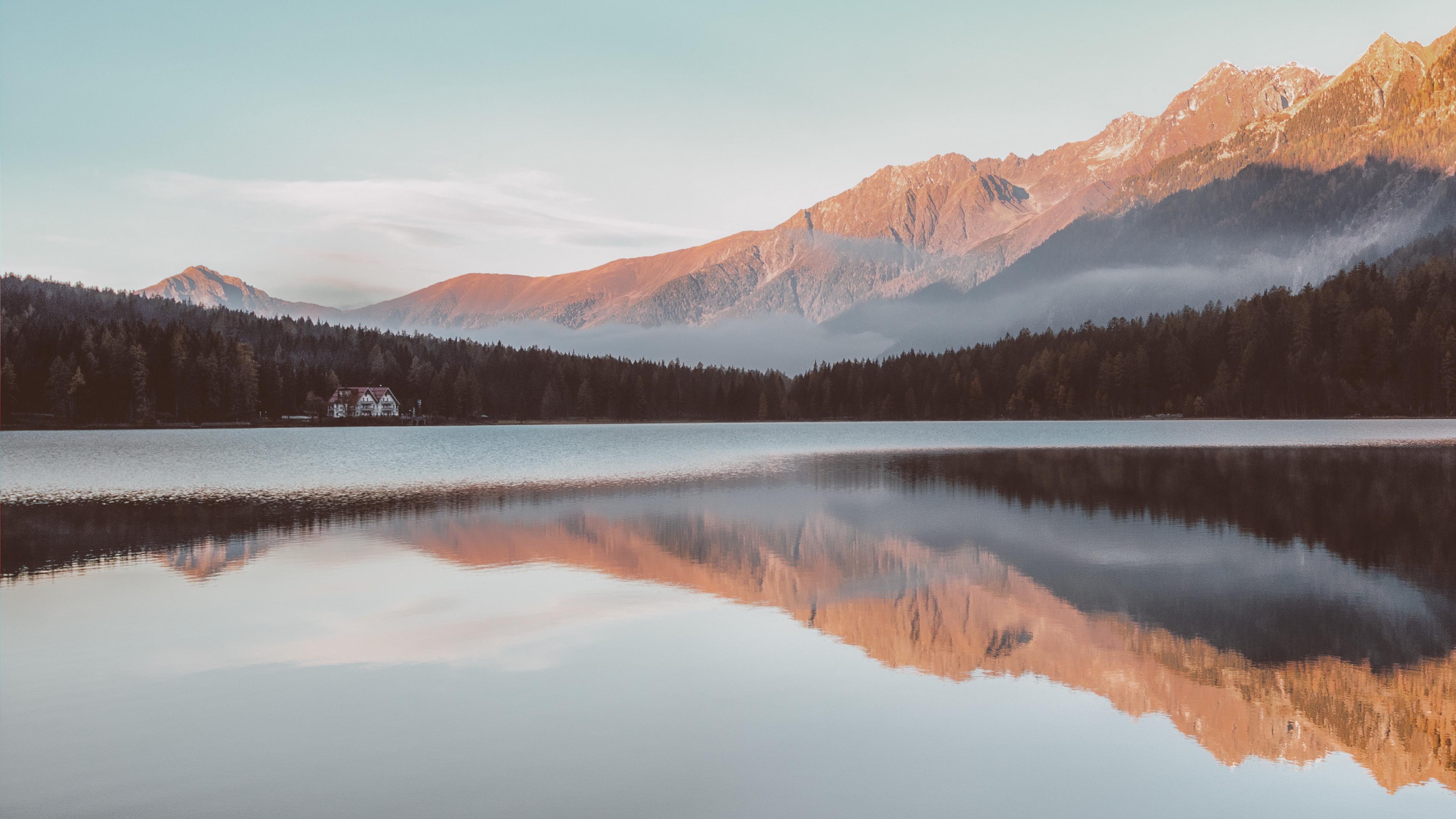 mountains house lake reflection 4k 1541116627 - mountains, house, lake, reflection 4k - Mountains, Lake, House
