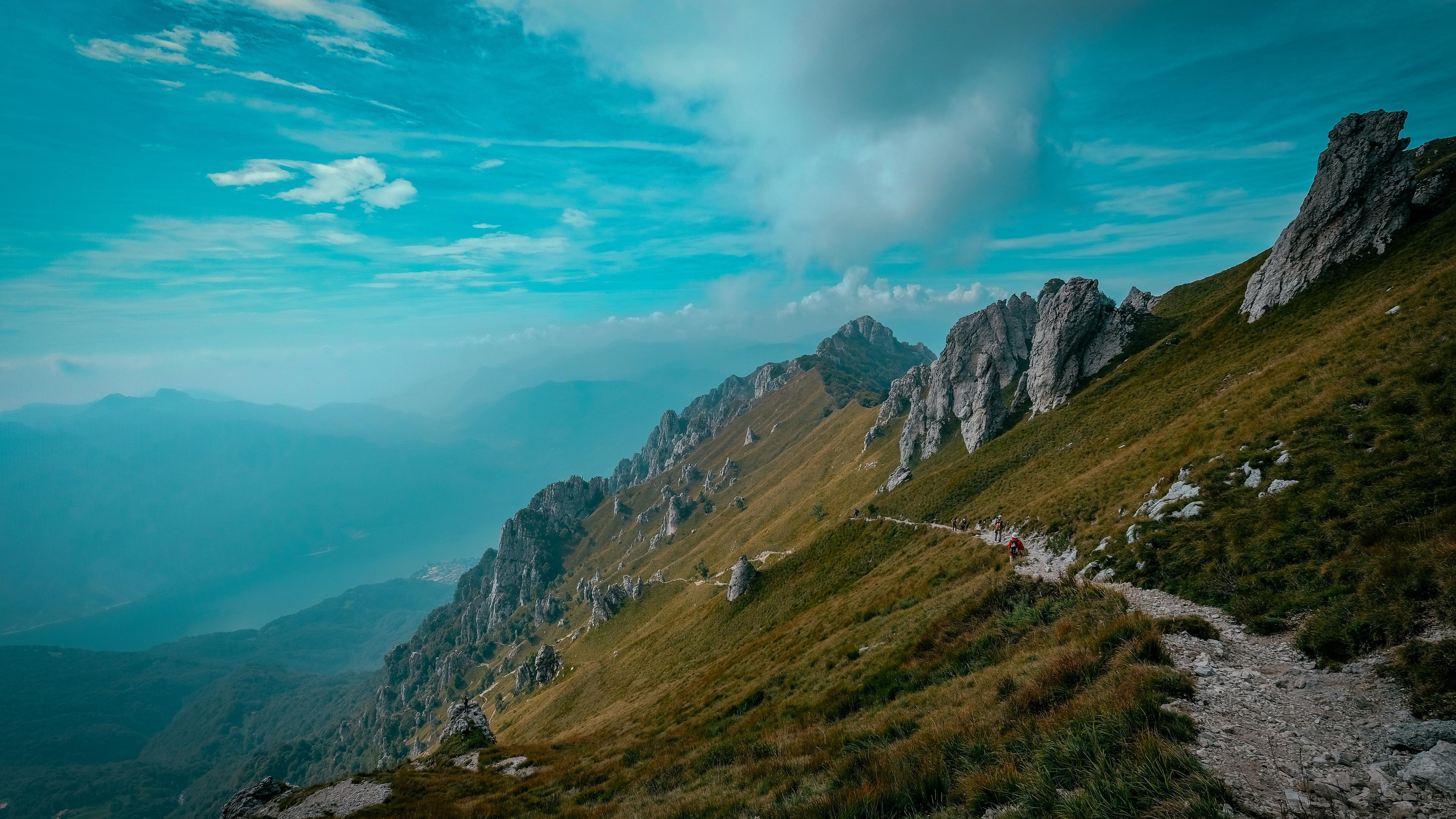 mountains path rocks stones top sky grass 4k 1541117323 - mountains, path, rocks, stones, top, sky, grass 4k - Rocks, path, Mountains