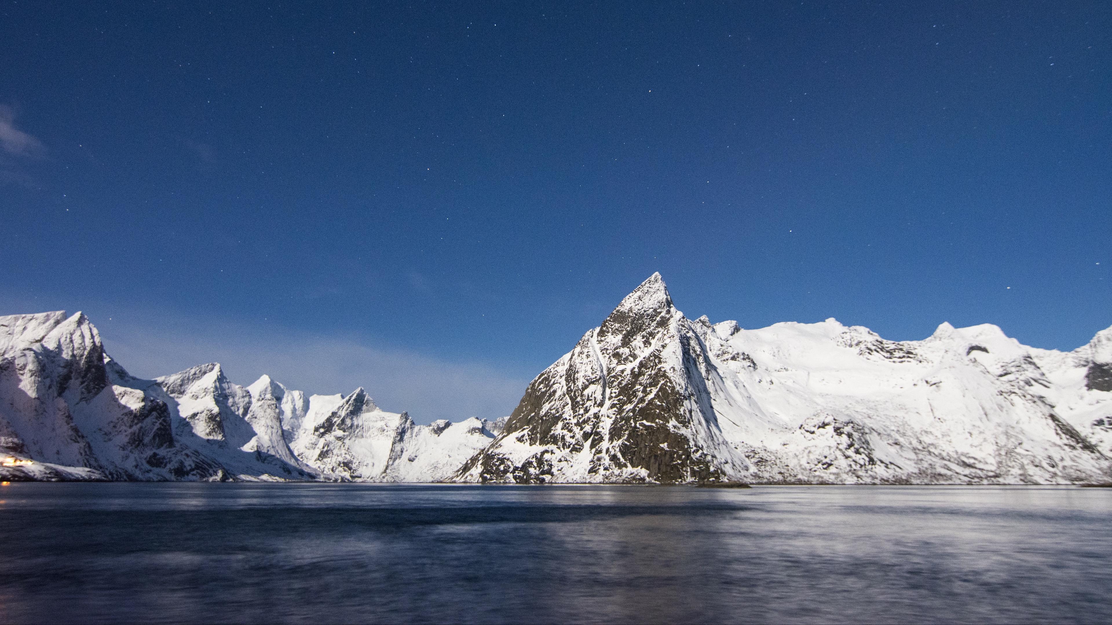mountains peaks snow sky lake 4k 1541117883 - mountains, peaks, snow, sky, lake 4k - Snow, Peaks, Mountains