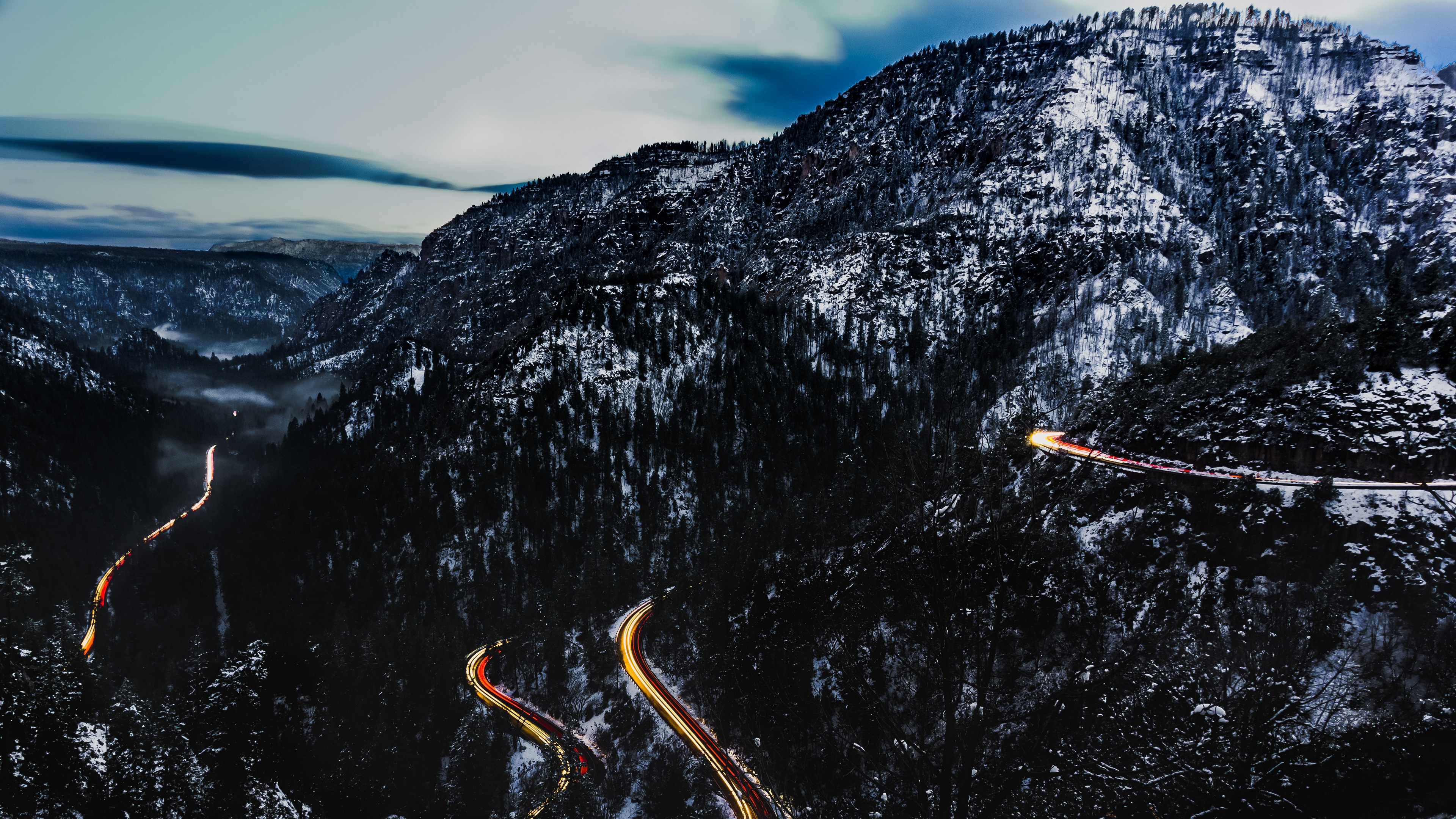 mountains road top light snowy 4k 1541116683 - mountains, road, top, light, snowy 4k - top, Road, Mountains