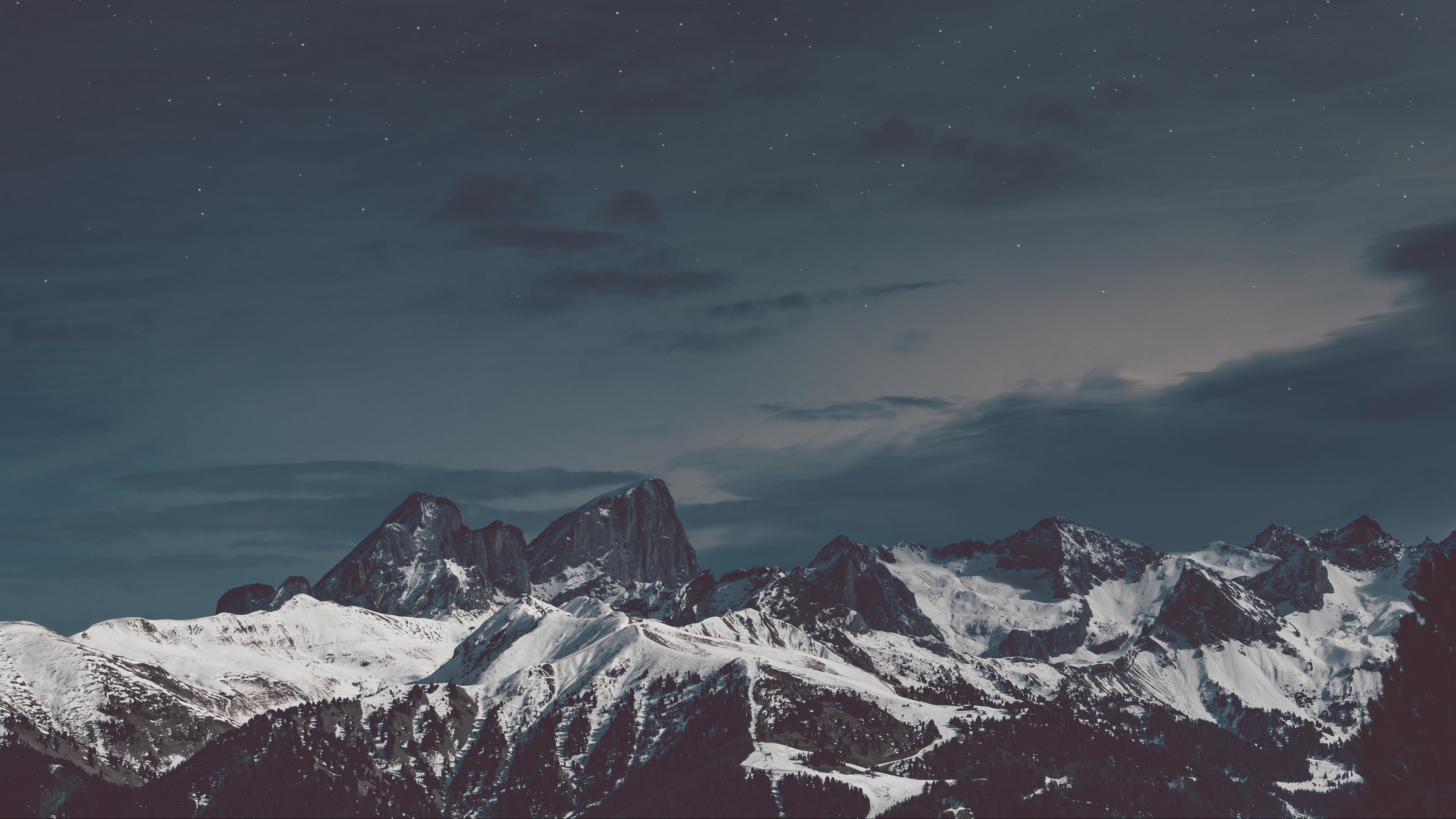 mountains snow sky night 4k 1541116578 - mountains, snow, sky, night 4k - Snow, Sky, Mountains