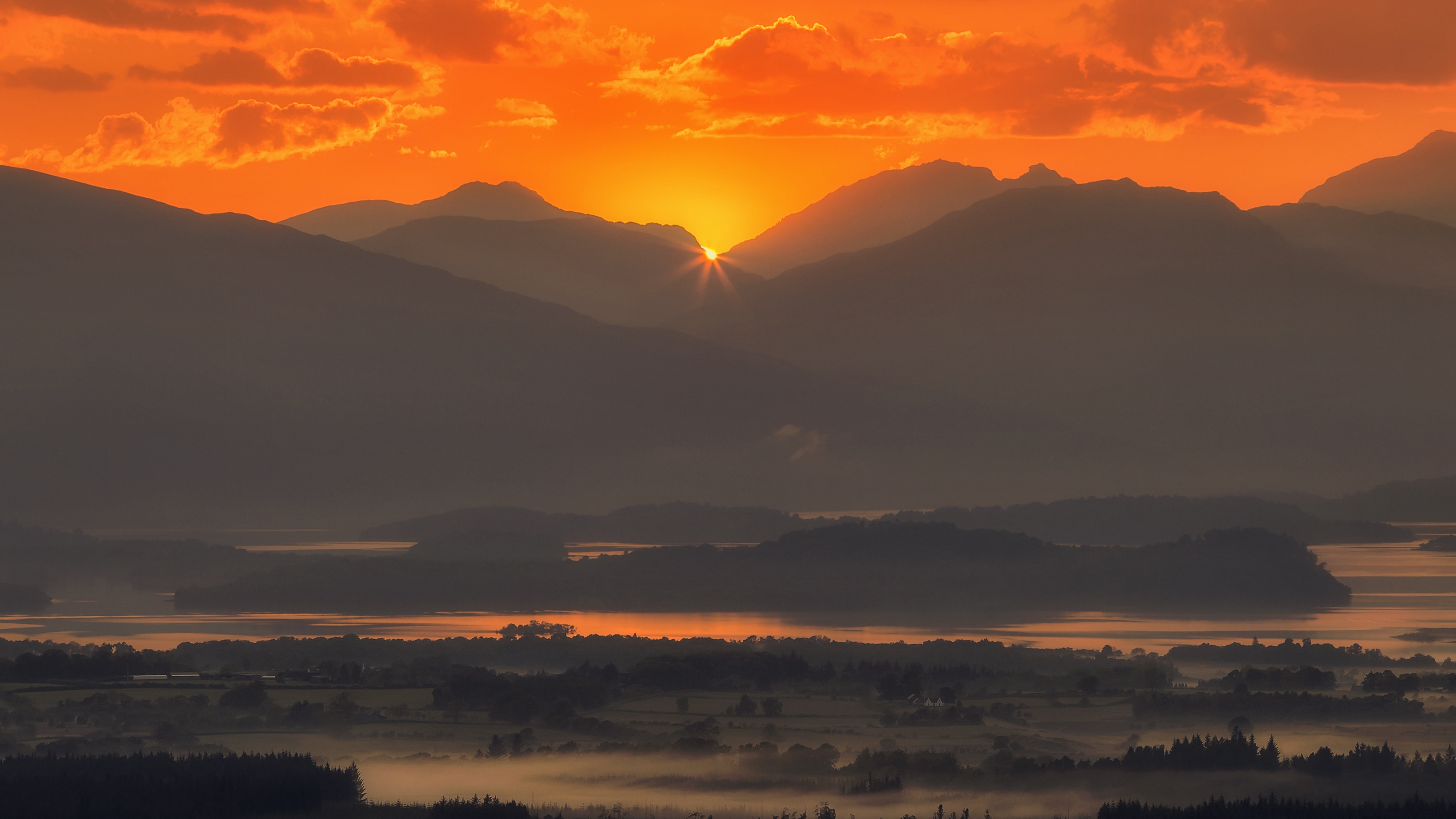 mountains sunset fog scotland 4k 1541116875 - mountains, sunset, fog, scotland 4k - sunset, Mountains, fog