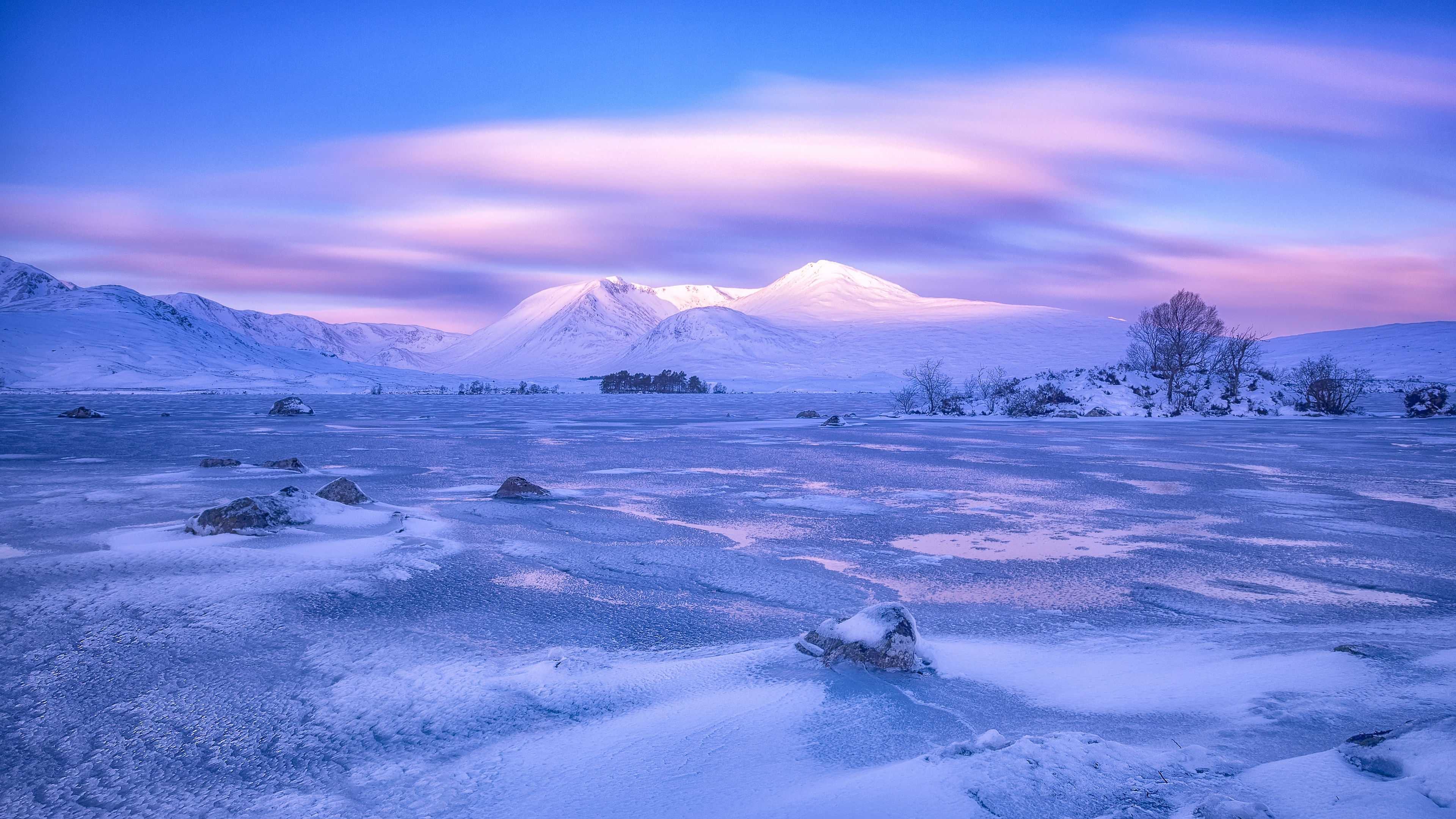 mountains winter sky pink snow blue loch lomond rannoch moor scotland 4k 1541116820 - mountains, winter, sky, pink, snow, blue, loch lomond, rannoch moor, scotland 4k - Winter, Sky, Mountains