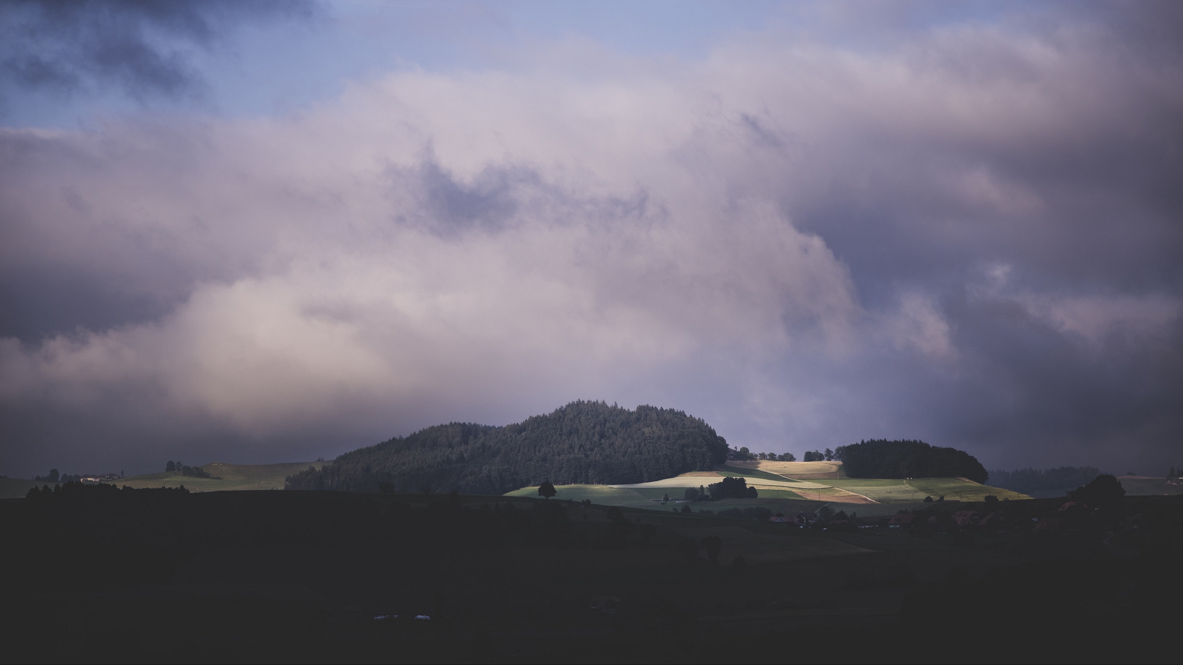 nature mountains field trees sky clouds 4k 1541116157 - nature, mountains, field, trees, sky, clouds 4k - Nature, Mountains, Field