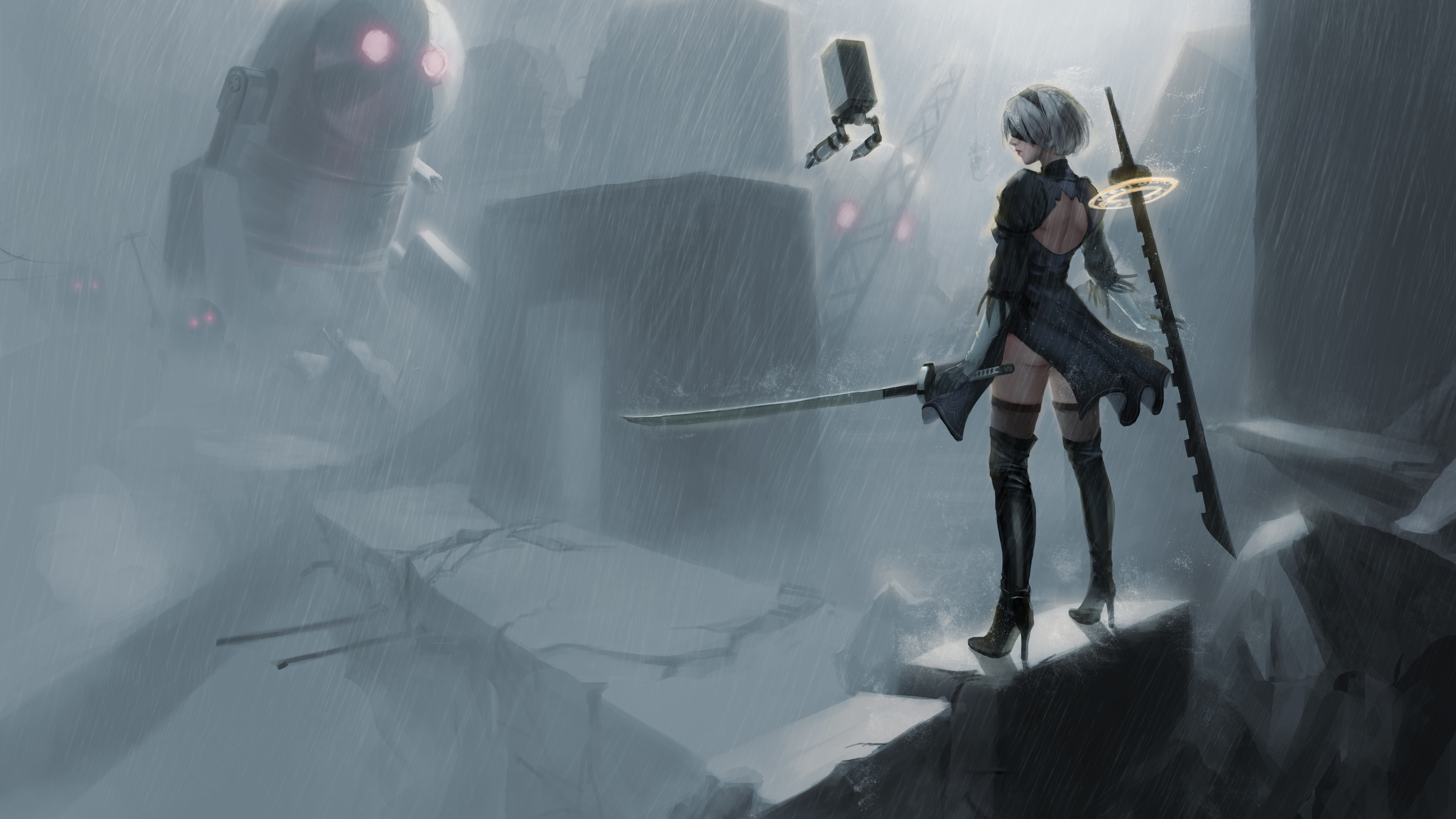 nier automata 5k 1541973675 - Nier Automata 5k - nier automata wallpapers, hd-wallpapers, games wallpapers, artwork wallpapers, 5k wallpapers, 4k-wallpapers, 2017 games wallpapers